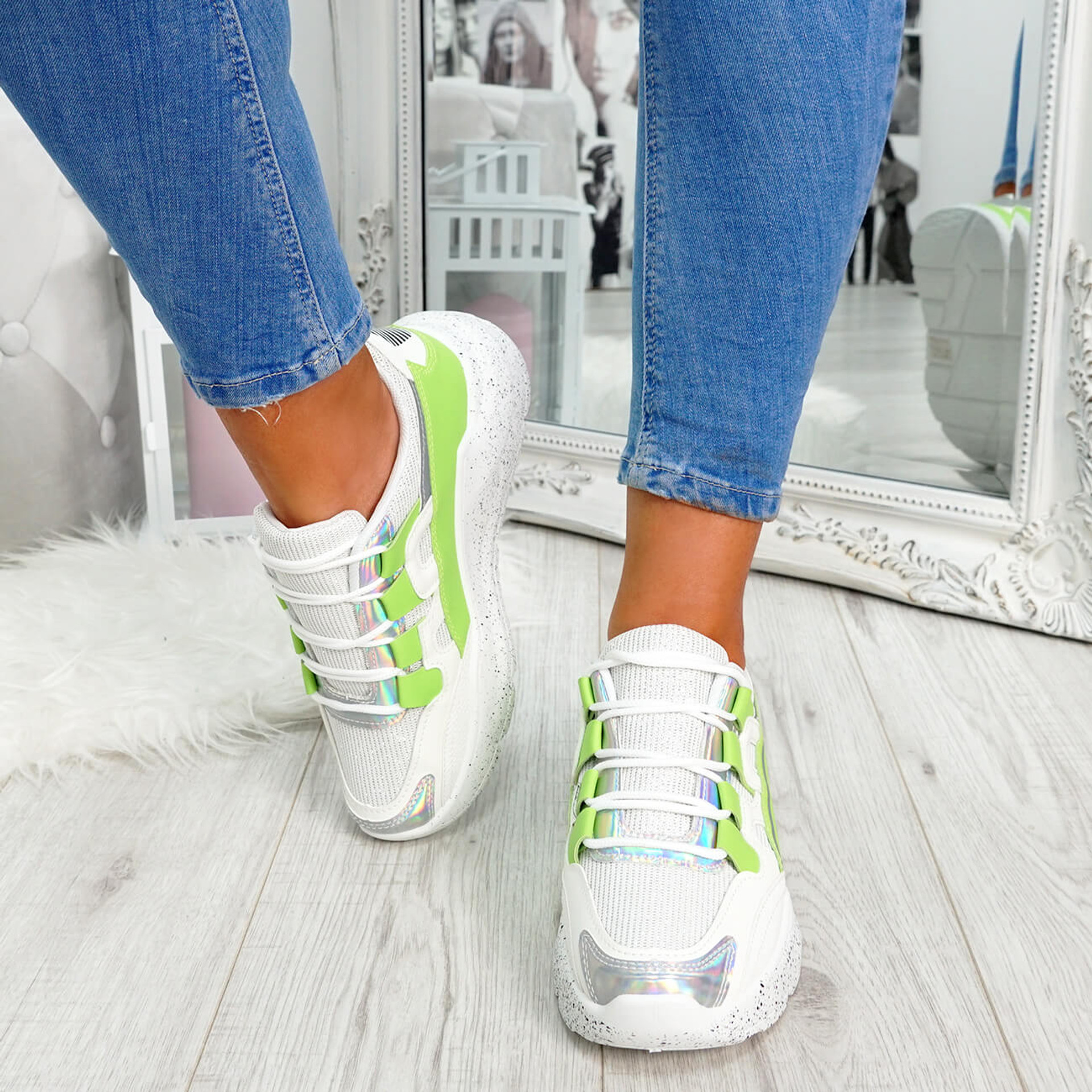 womens green and white lace-up trainers chunky sole patent mesh size uk 3 4 5 6 7 8