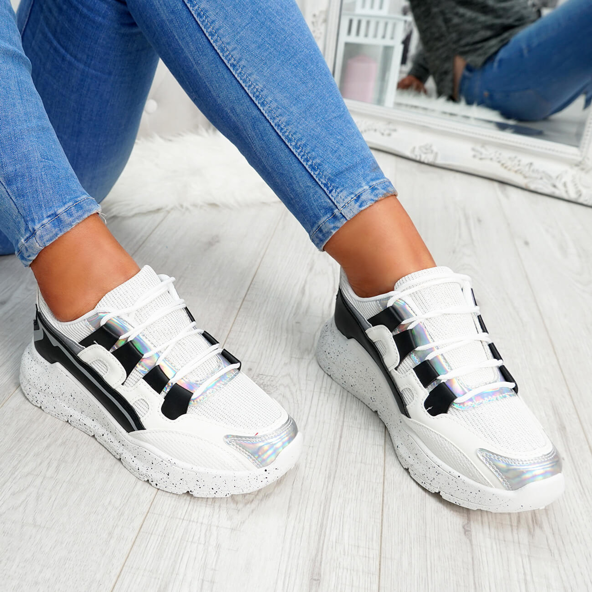 womens black and white lace-up trainers chunky sole patent mesh size uk 3 4 5 6 7 8