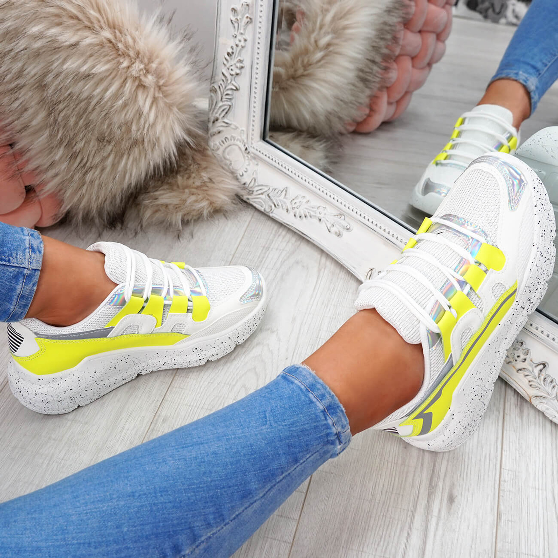 womens yellow and white lace-up trainers chunky sole patent mesh size uk 3 4 5 6 7 8