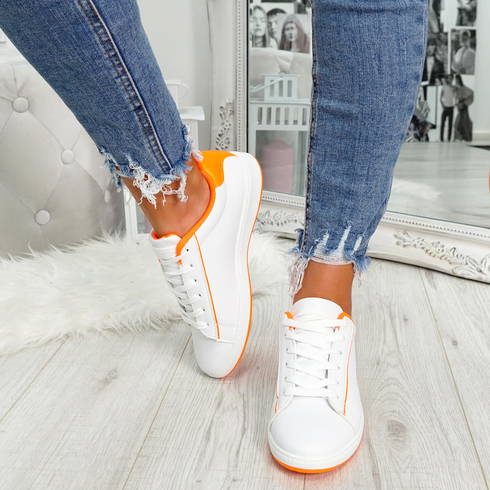 womens fluorescent orange and white lace-up trainers size uk 3 4 5 6 7 8