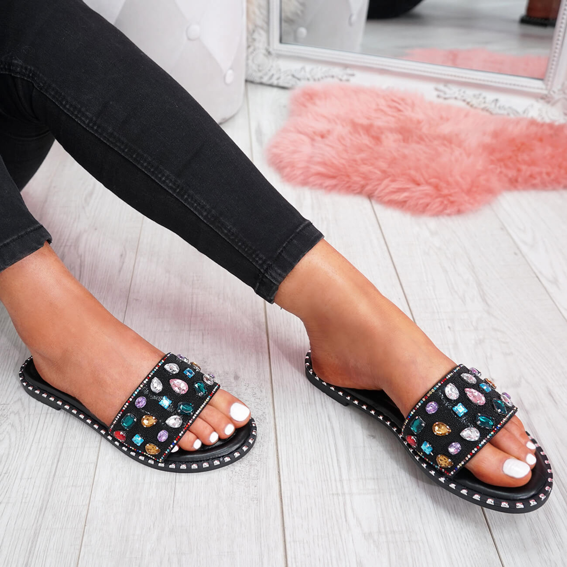 womens black colorful rhinestones studs slip on flat shiny sandals size uk 3 4 5 6 7 8