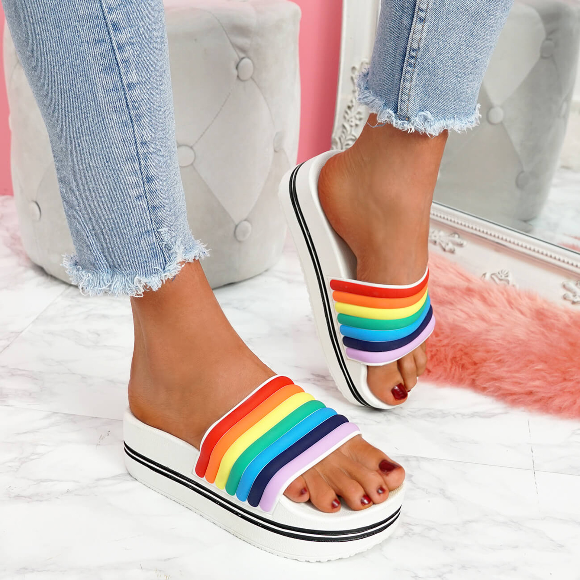 womens ladies slip on rainbow sliders party flat sandals casual shoes size uk 3 4 5 6 7 8