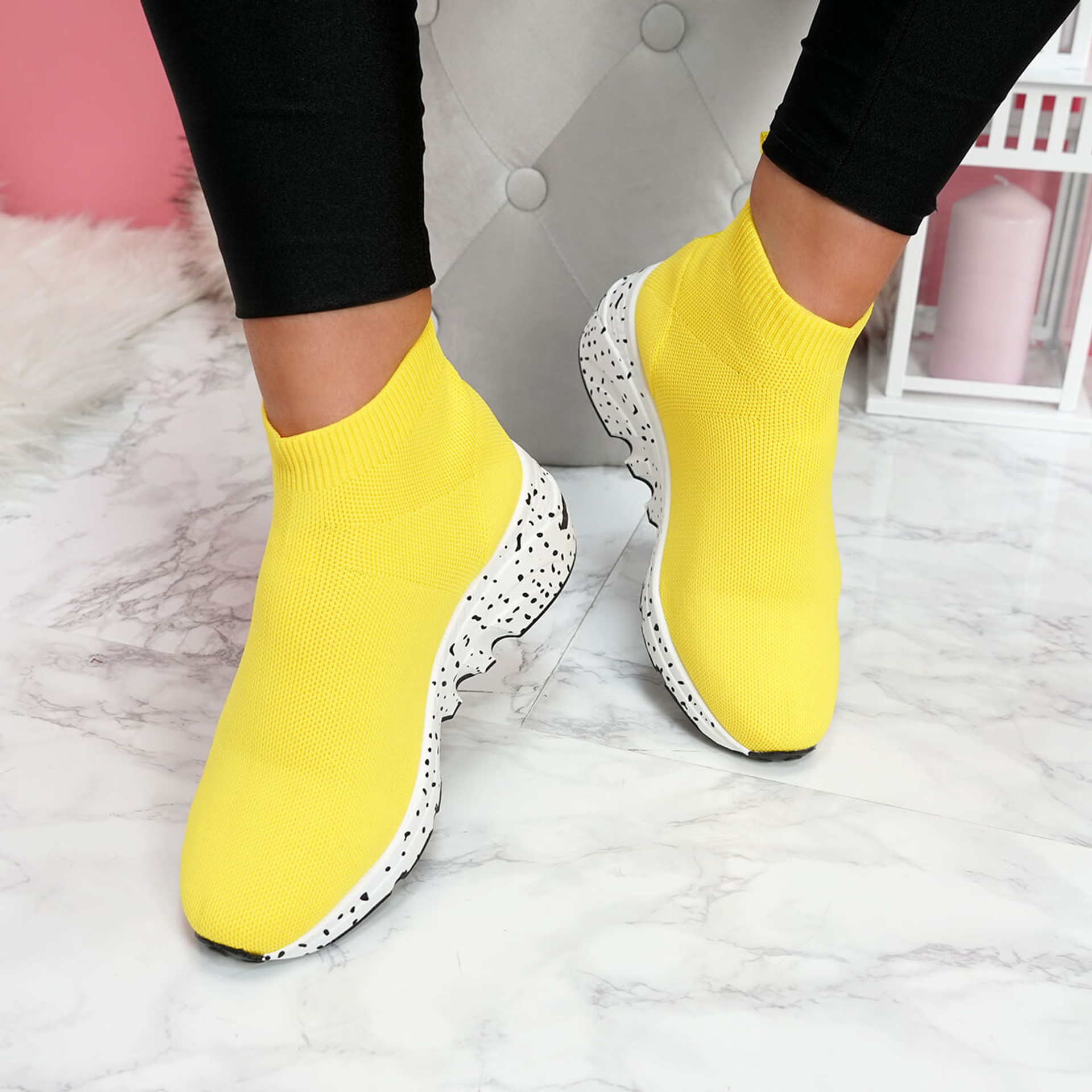 womens ladies slip on sock sneakers chunky trainers party women shoes size uk 3 4 5 6 7 8