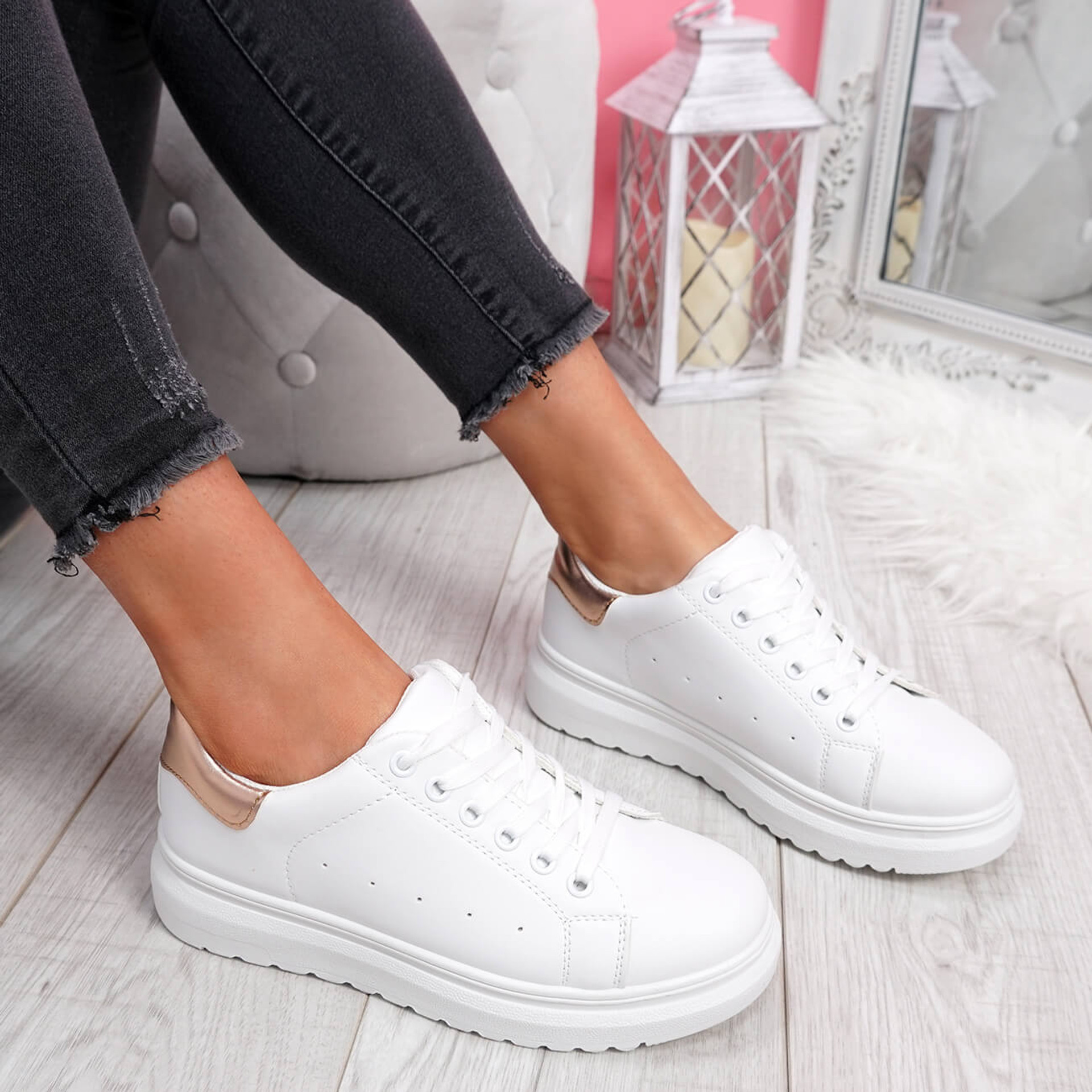 womens ladies lace up platform trainers comfy casual sneakers two tone color women shoes size uk 3 4 5 6 7 8