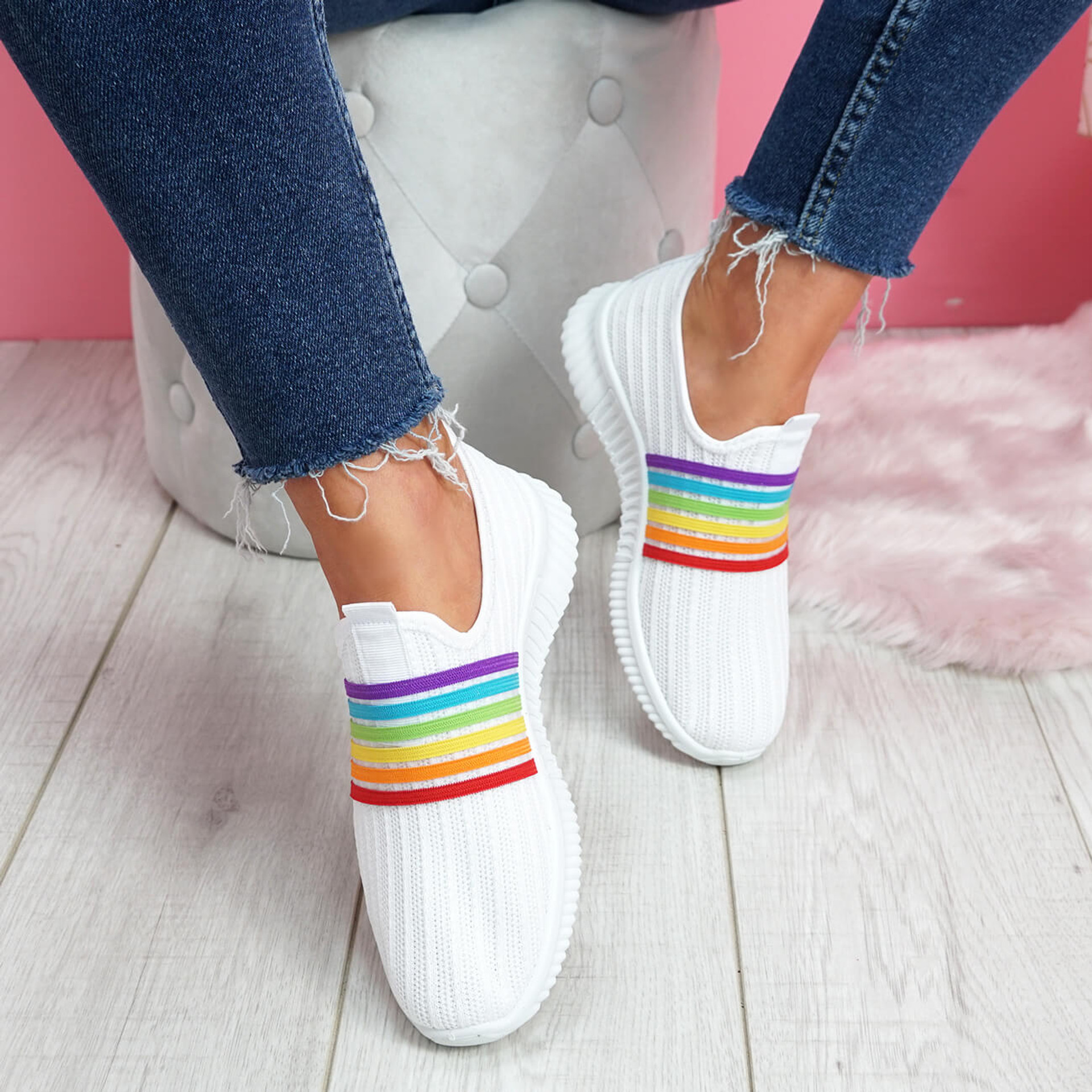Ladies Slip On Rainbow Pattern Sneakers Knitted Fashion Trainers Heel Flat Shoes