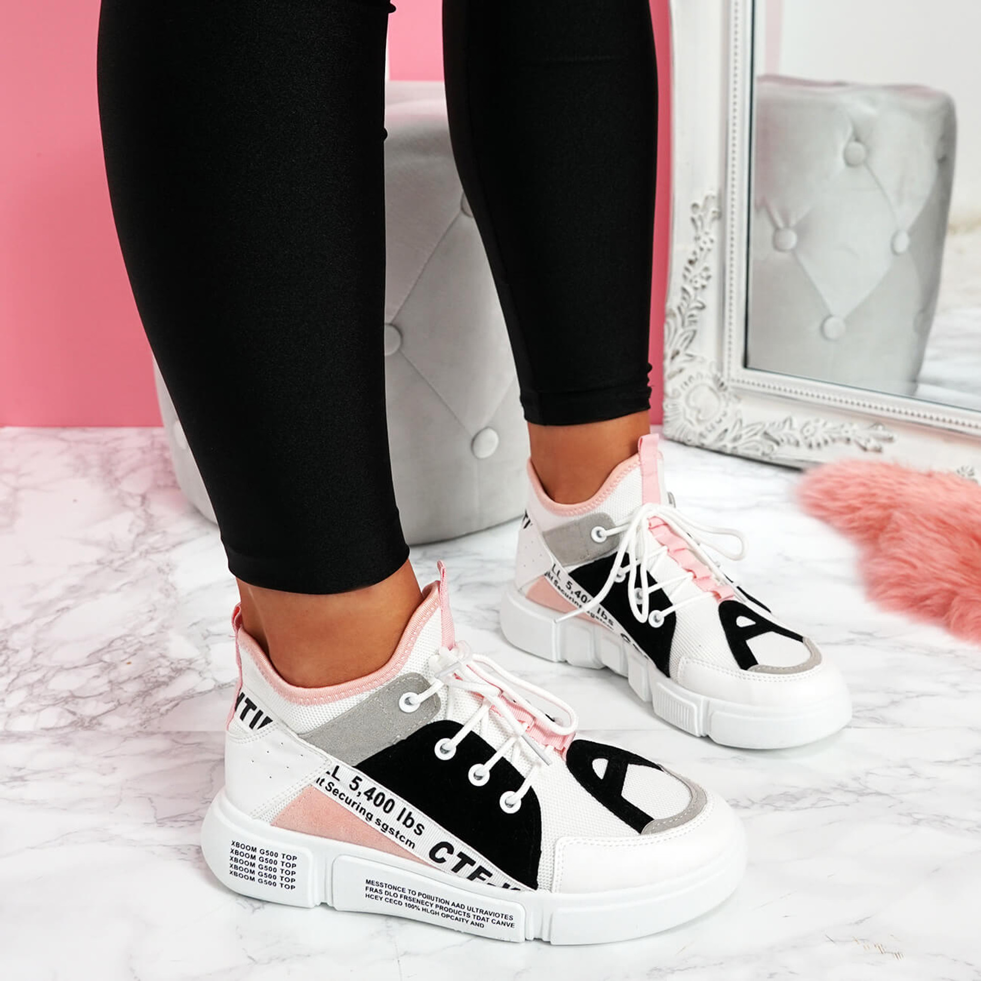 womens ladies lace up chunky sole sneakers party women trainers shoes size uk 3 4 5 6 7 8