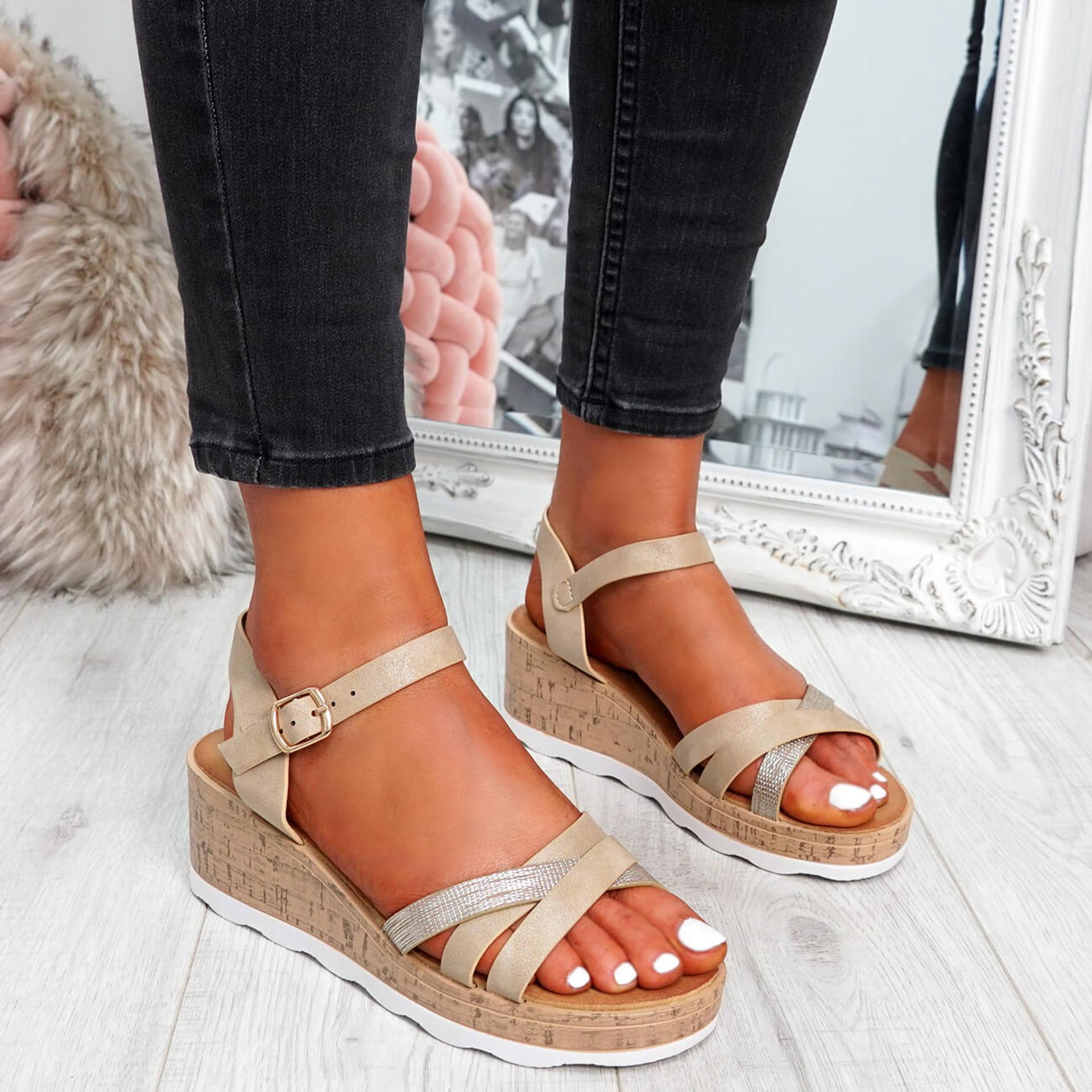 womens ladies wedge peep toe platform ankle strap sandals comfy shoes size uk 3 4 5 6 7 8