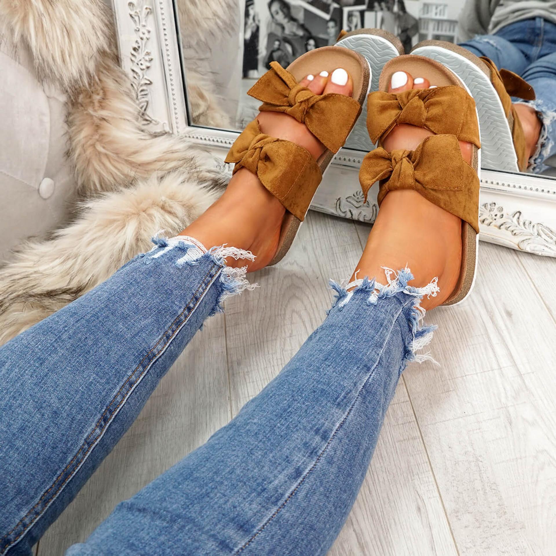 womens ladies flat sandals heels double bow peep toe casual women shoes size uk 3 4 5 6 7 8