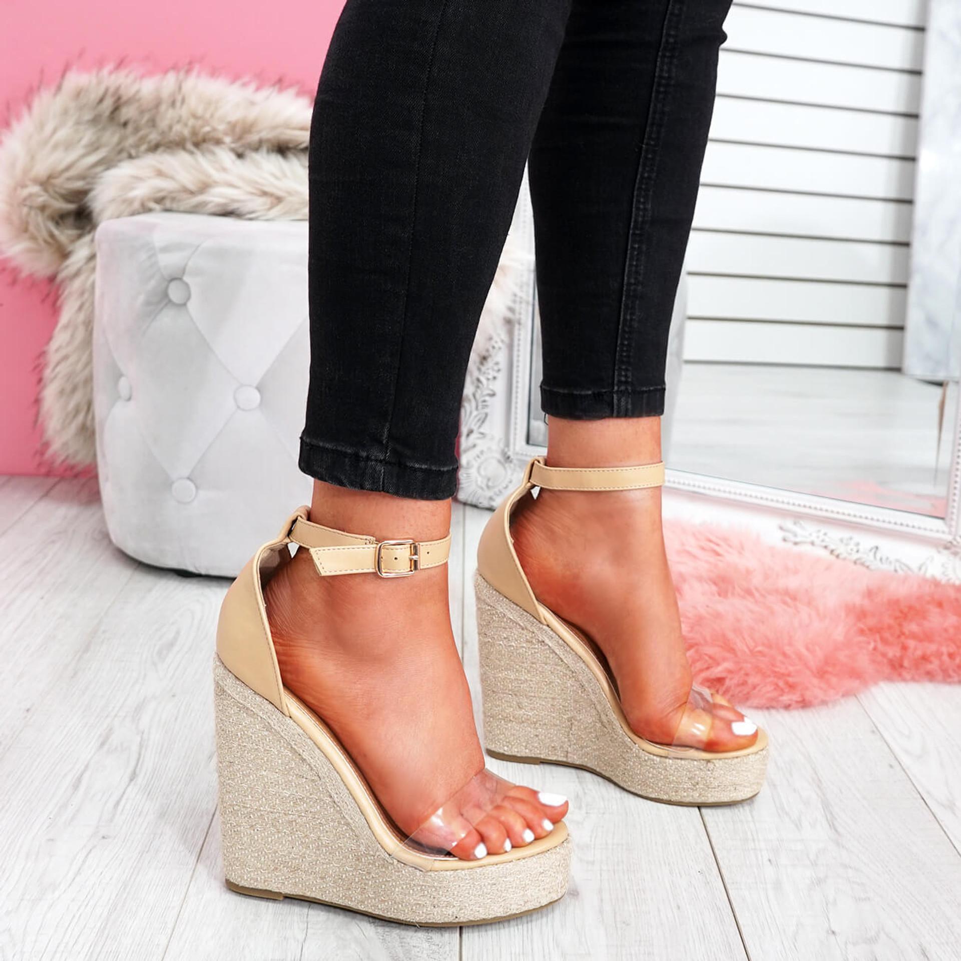 UK Womens Ladies Wedge Espadrille Slingback Sandals Platform Peep Toe Shoes Size