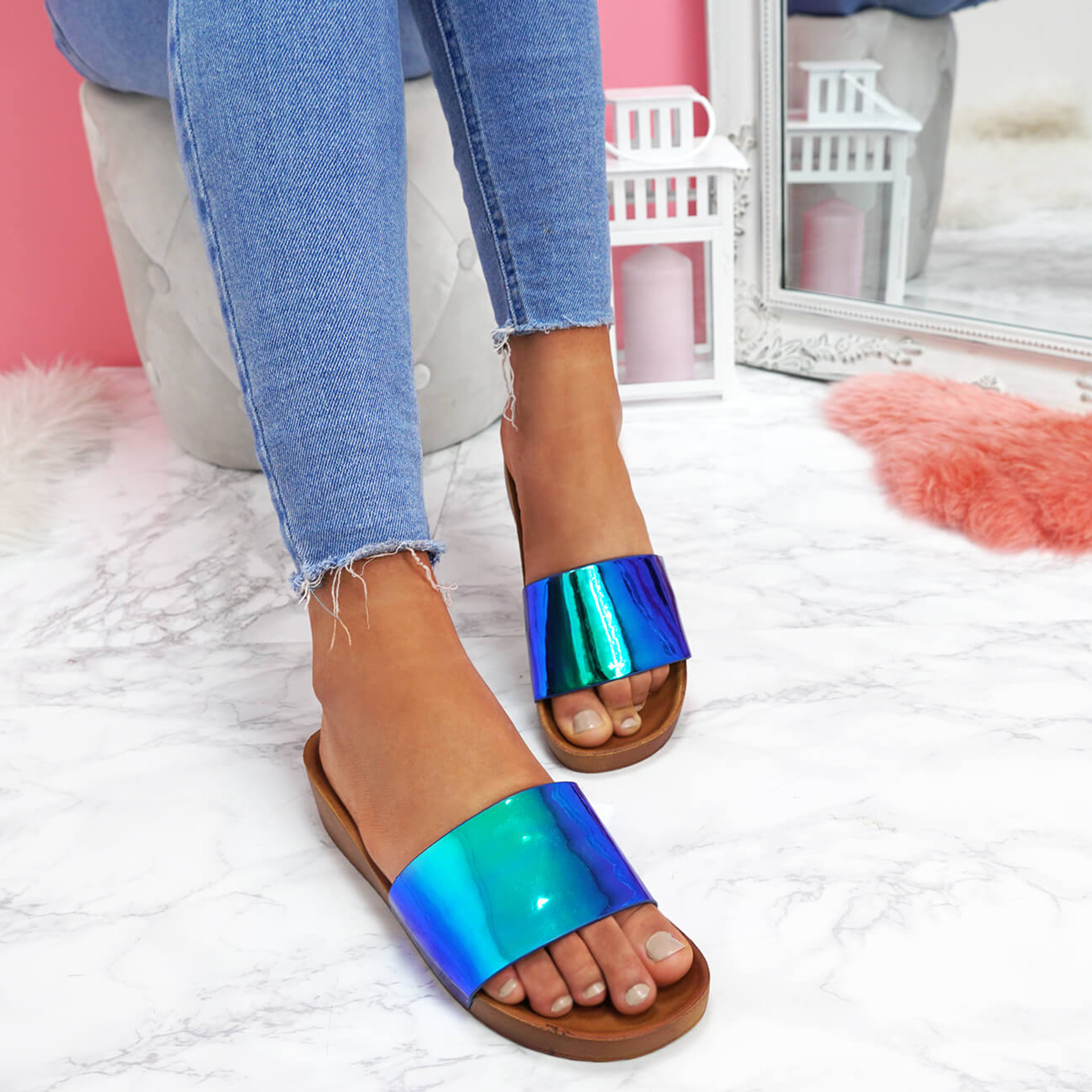 womens ladies slip on metallic patent heels party shoes women sliders size uk 3 4 5 6 7 8