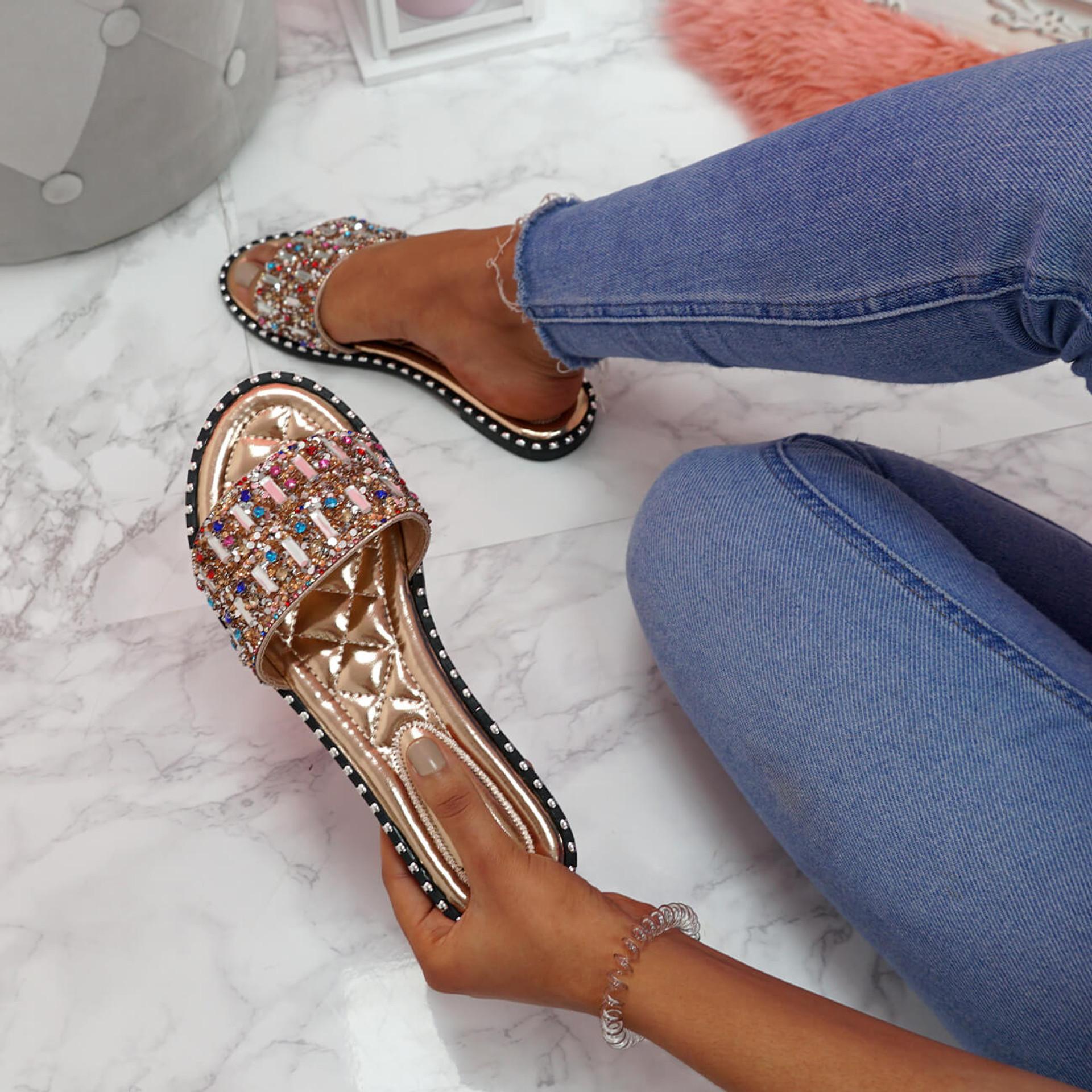 womens ladies sliders peep toe rhinestone flat sandals women party shoes size uk 3 4 5 6 7 8