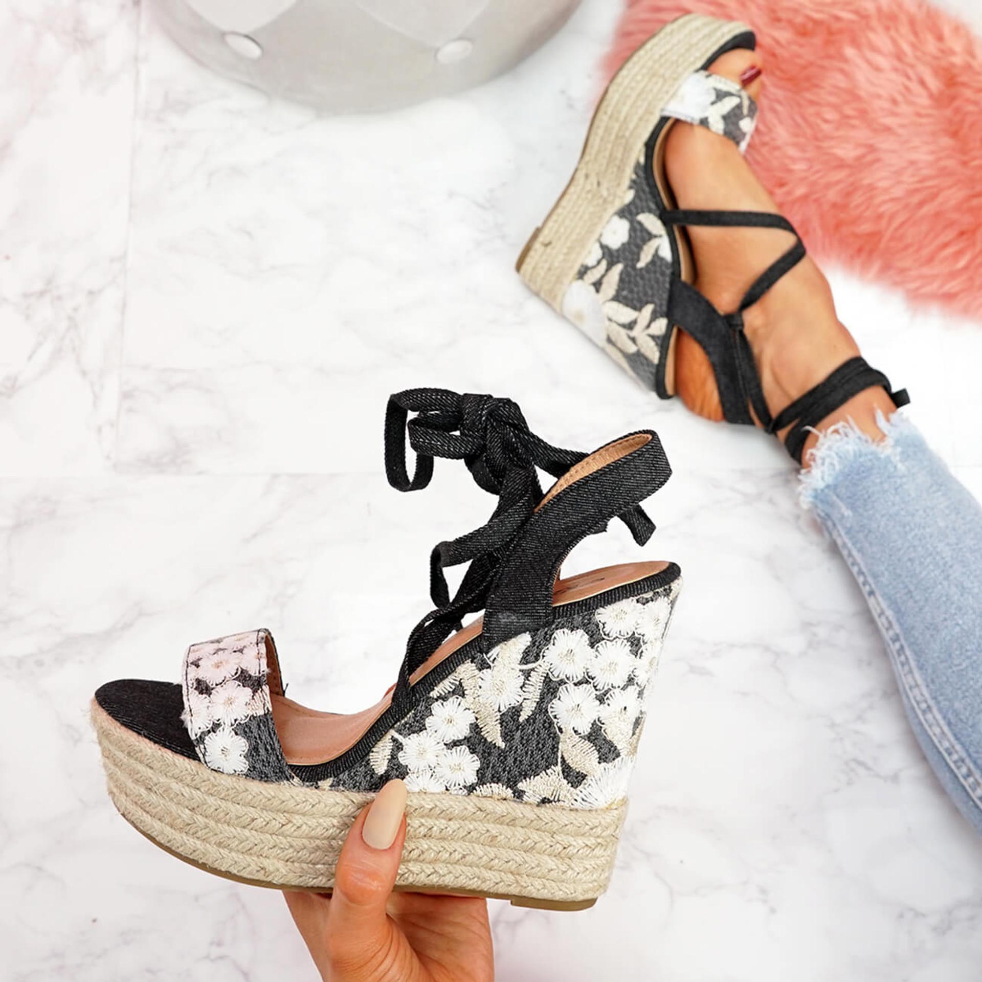 womens ladies high heels wedge platform espadrille sandals peep toe lace up summer women shoes size uk 3 4 5 6 7 8