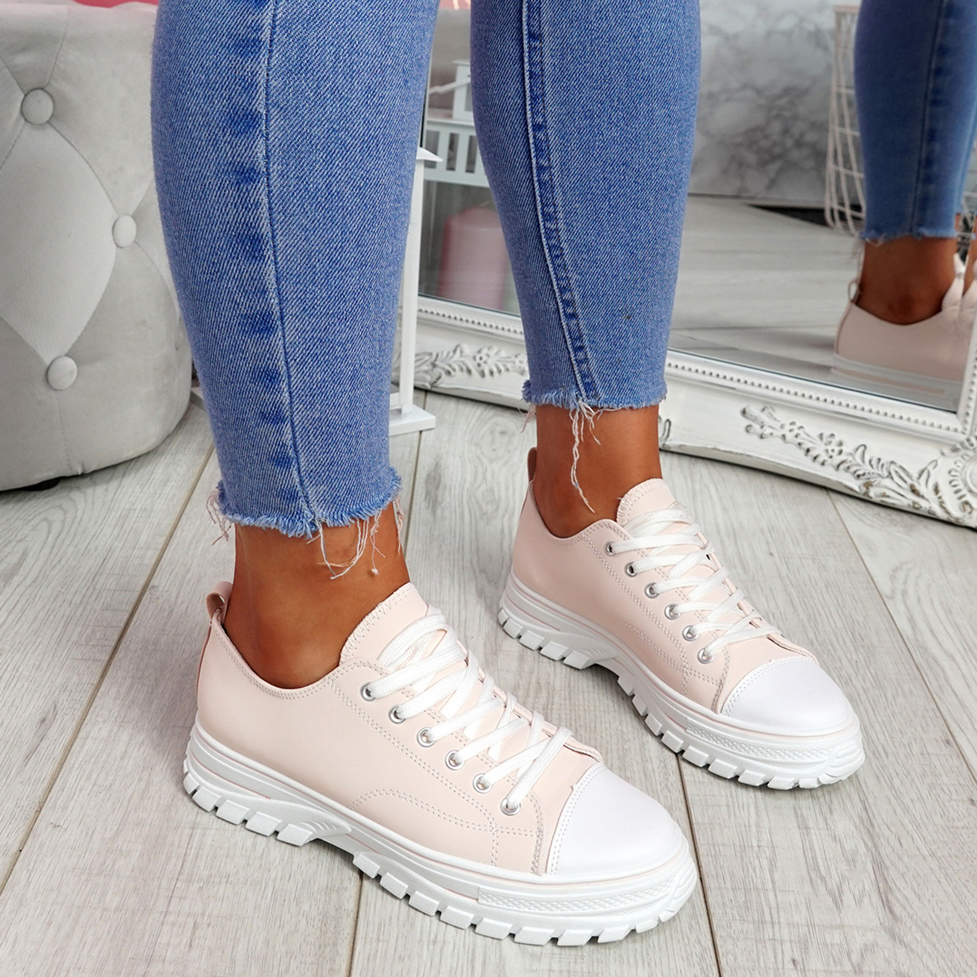 Ledde Pink Lace Up Trainers