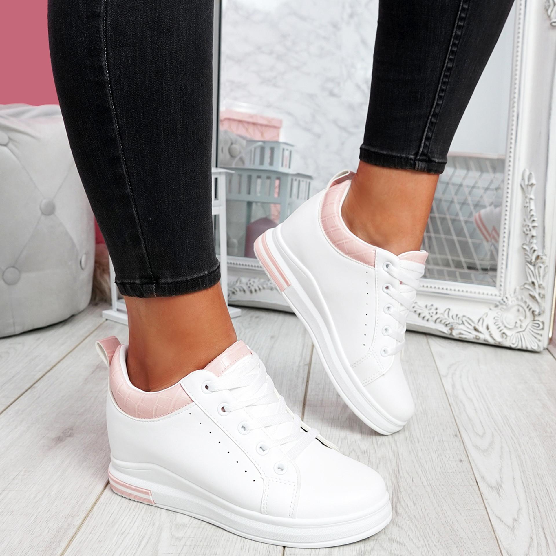 Pinna White Pink Wedge Trainers
