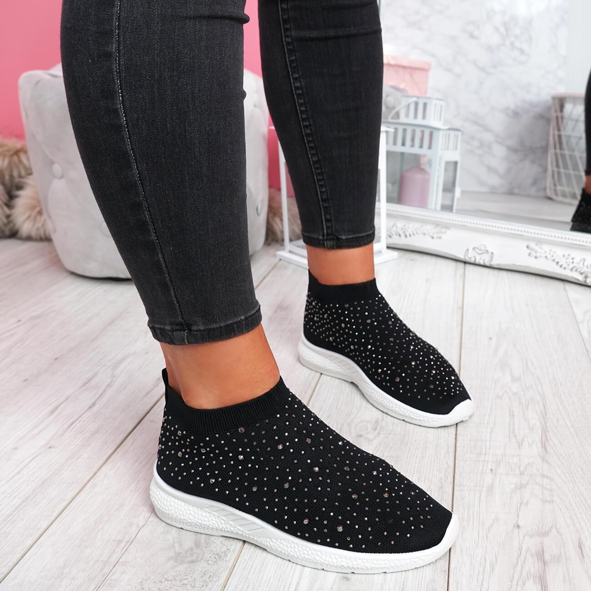 Jutty Black Studded Sock Sneakers