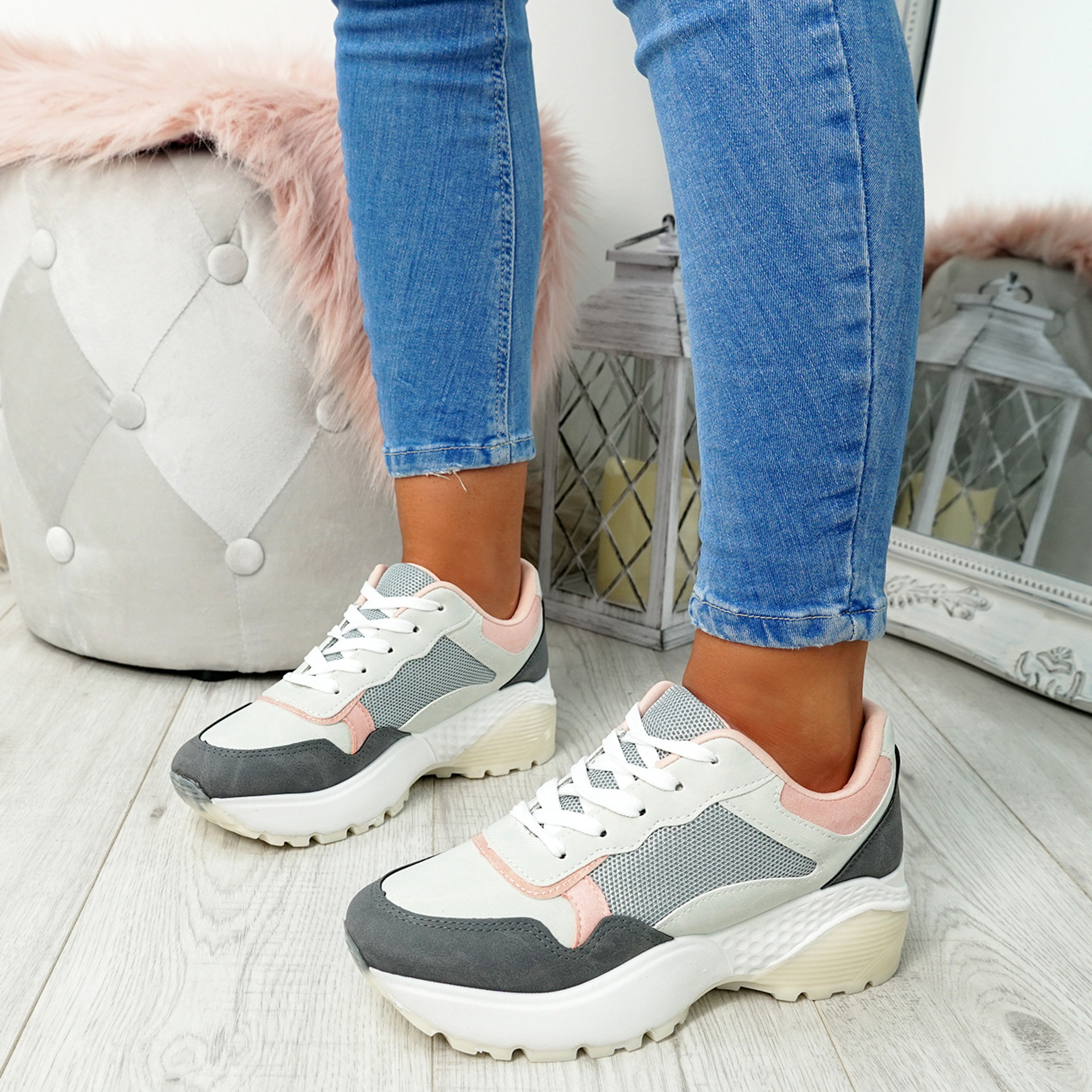 Fezy Grey Chunky Trainers