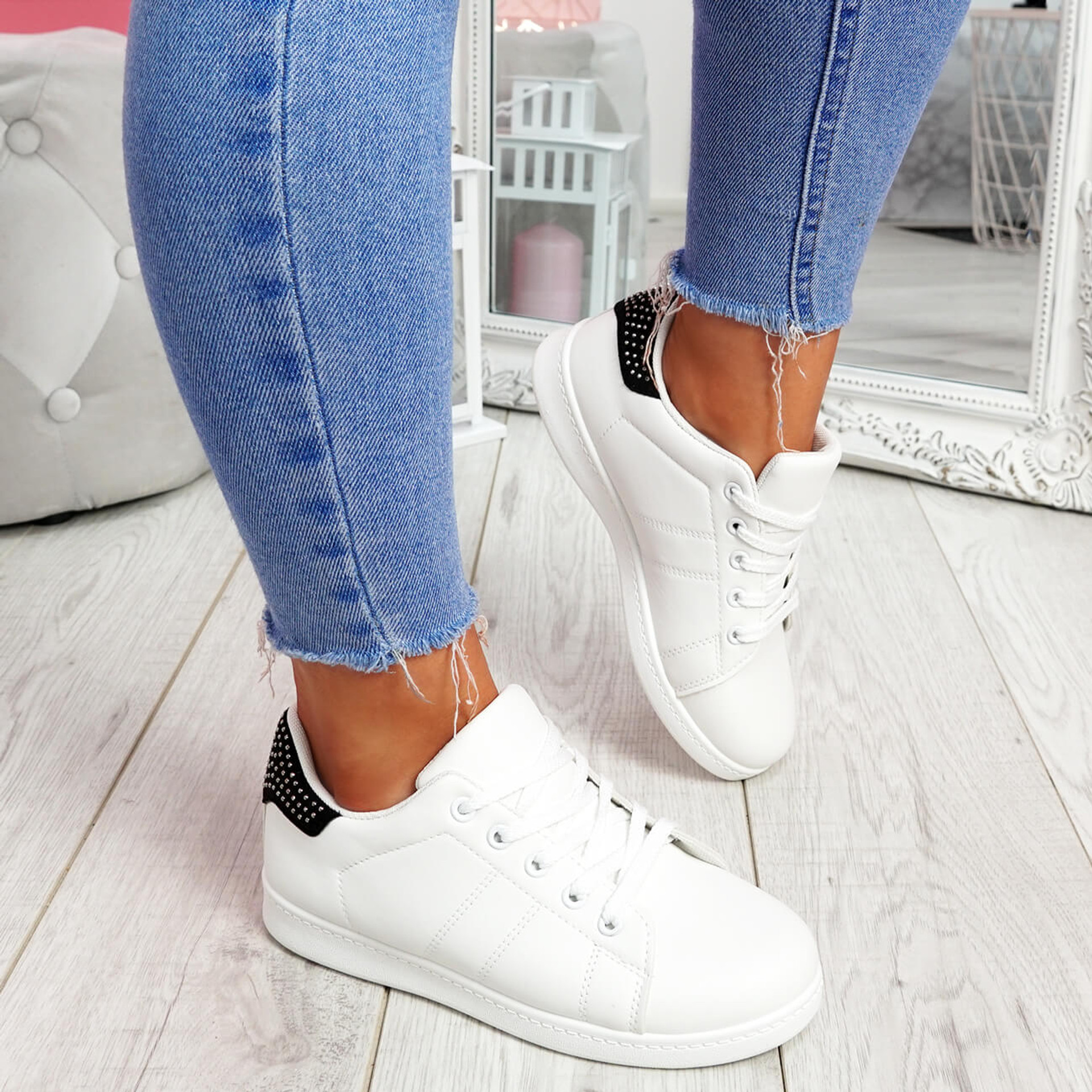 Zowe White Black Studded Trainers