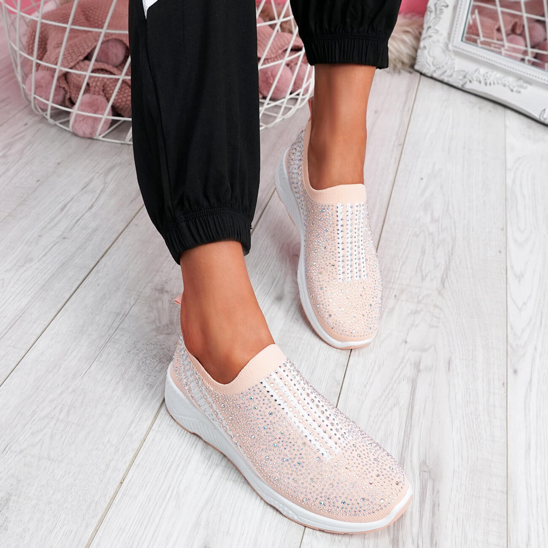 Billy Pink Studded Slip On Trainers