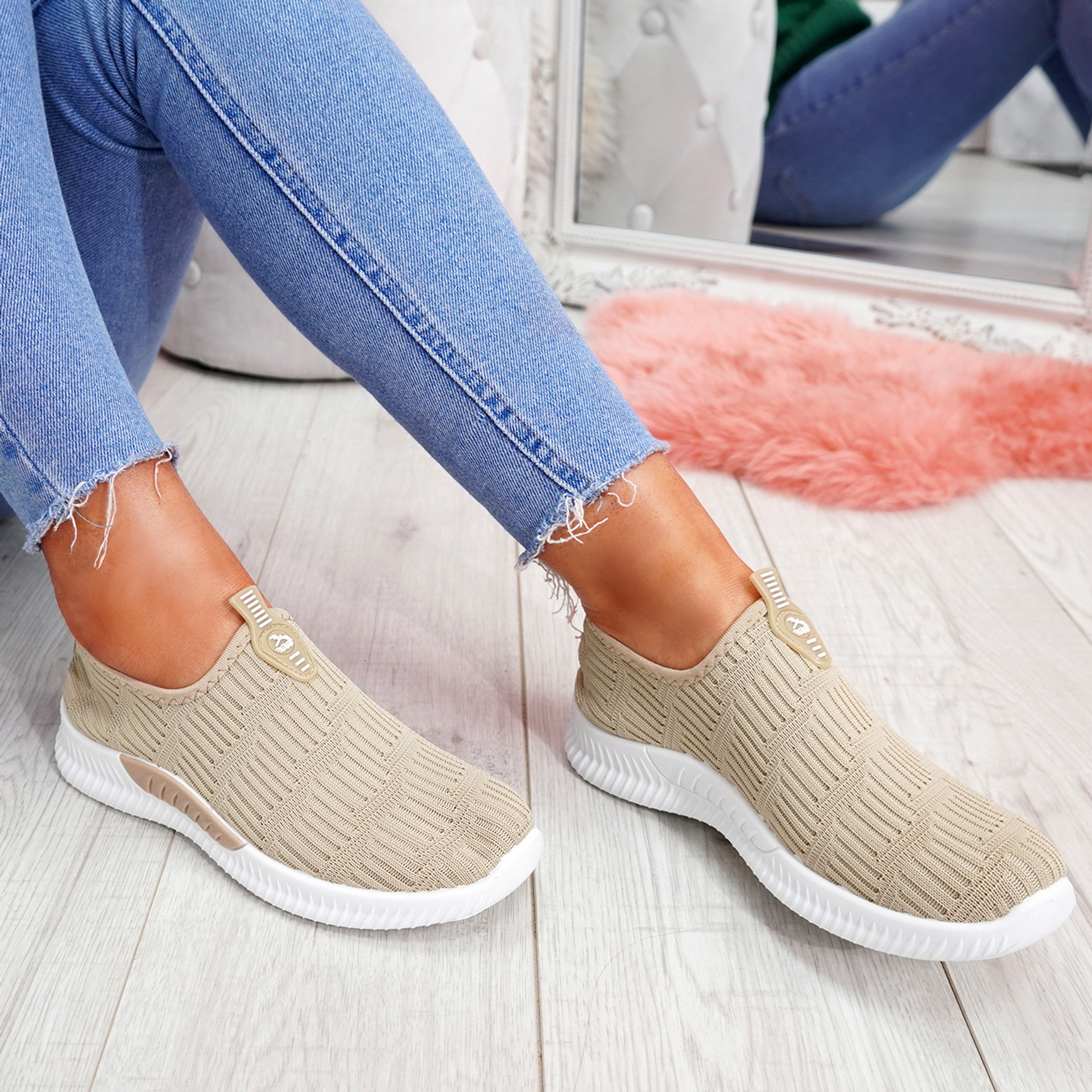 Hegy Beige Slip On Trainers
