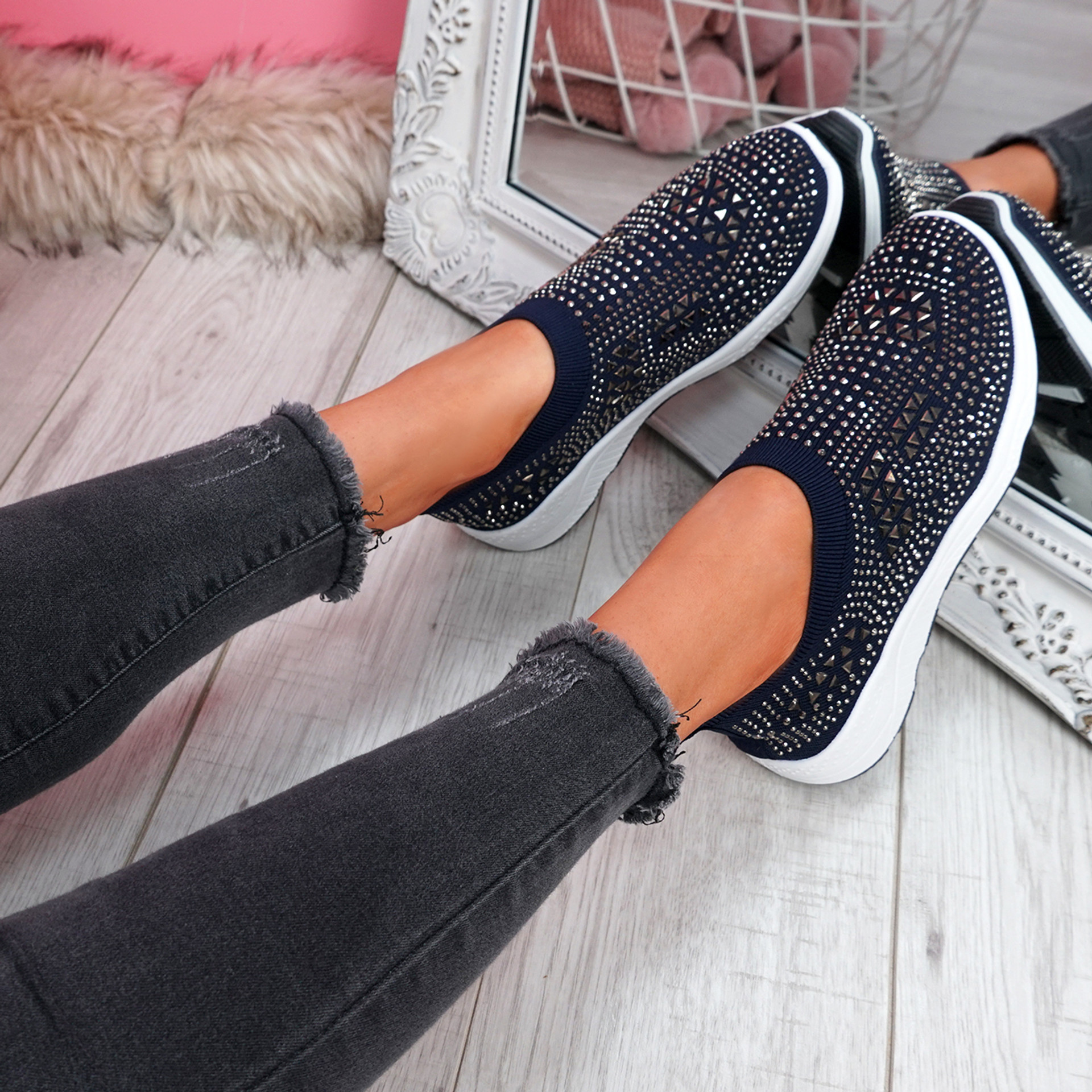 Zippy Deep Blue Studded Sock Trainers