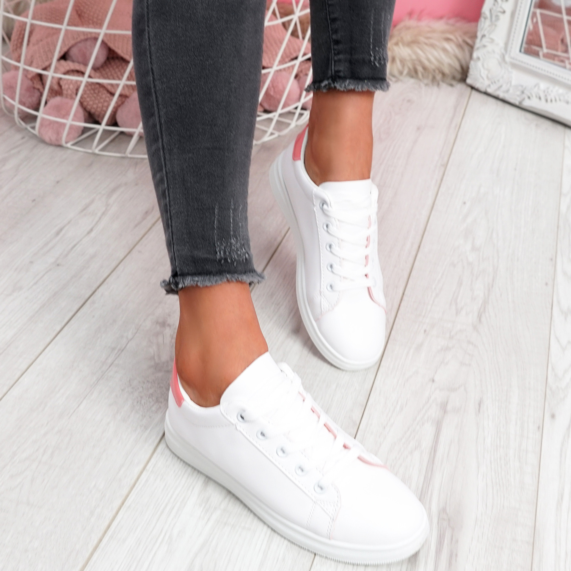 Miry Pink Lace Up Trainers