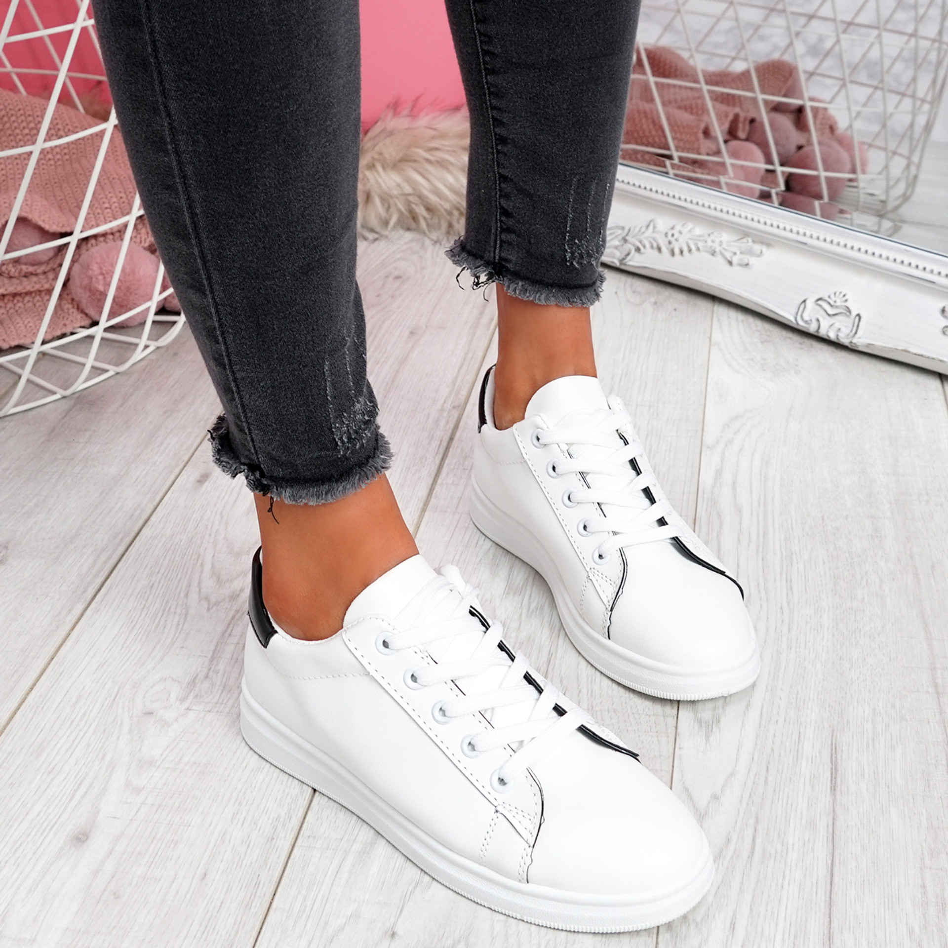 Miry White Lace Up Trainers
