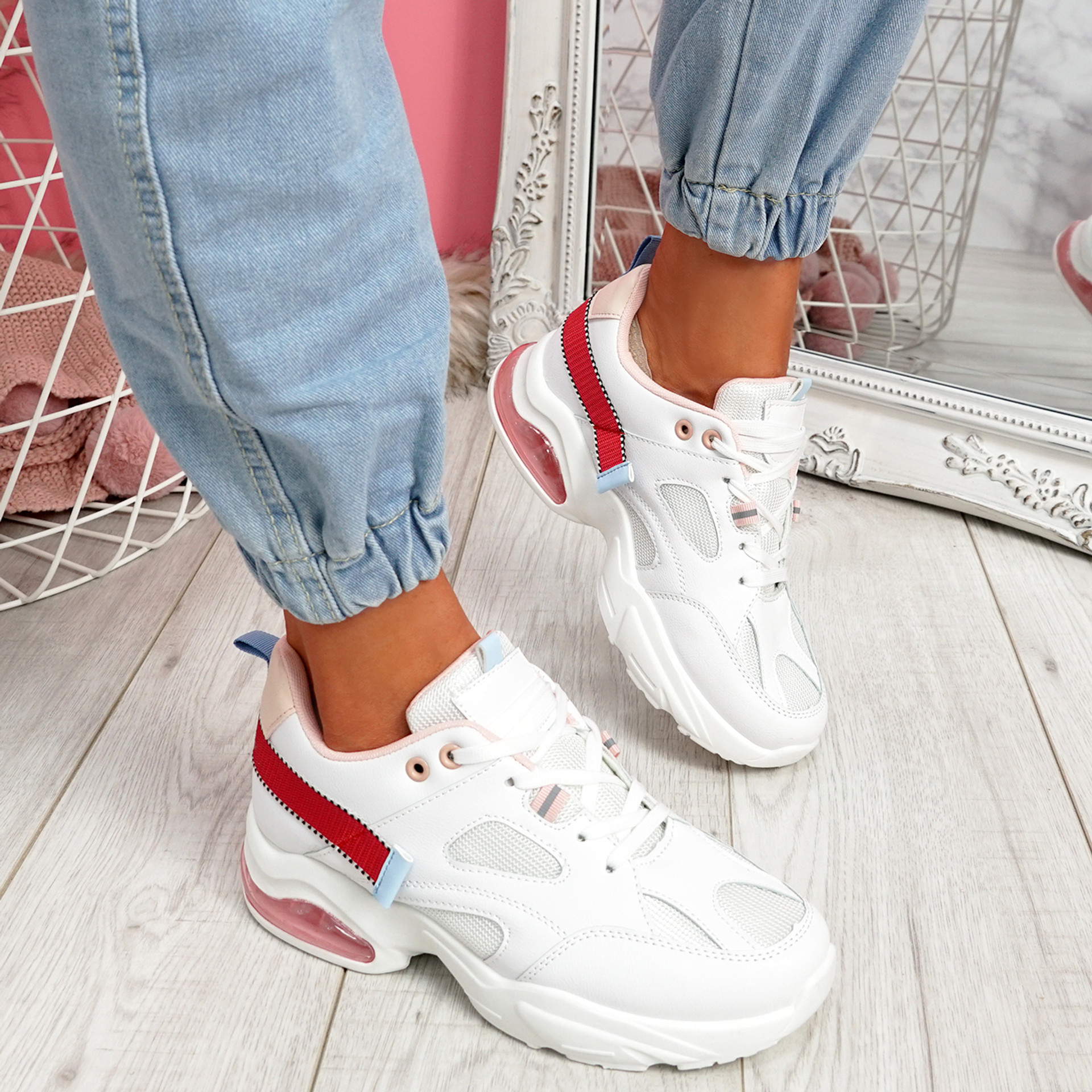 Wenny White Chunky Sneakers