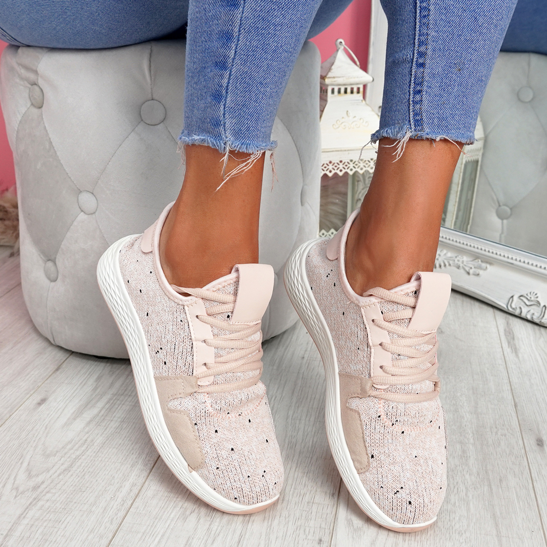 Evy Apricot Knit Trainers