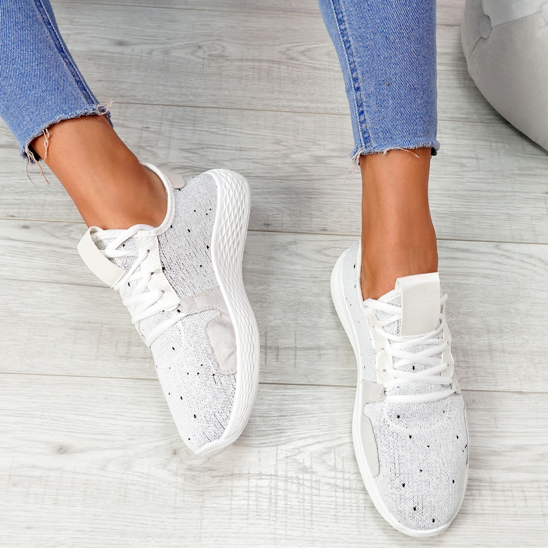 Evy White Knit Trainers