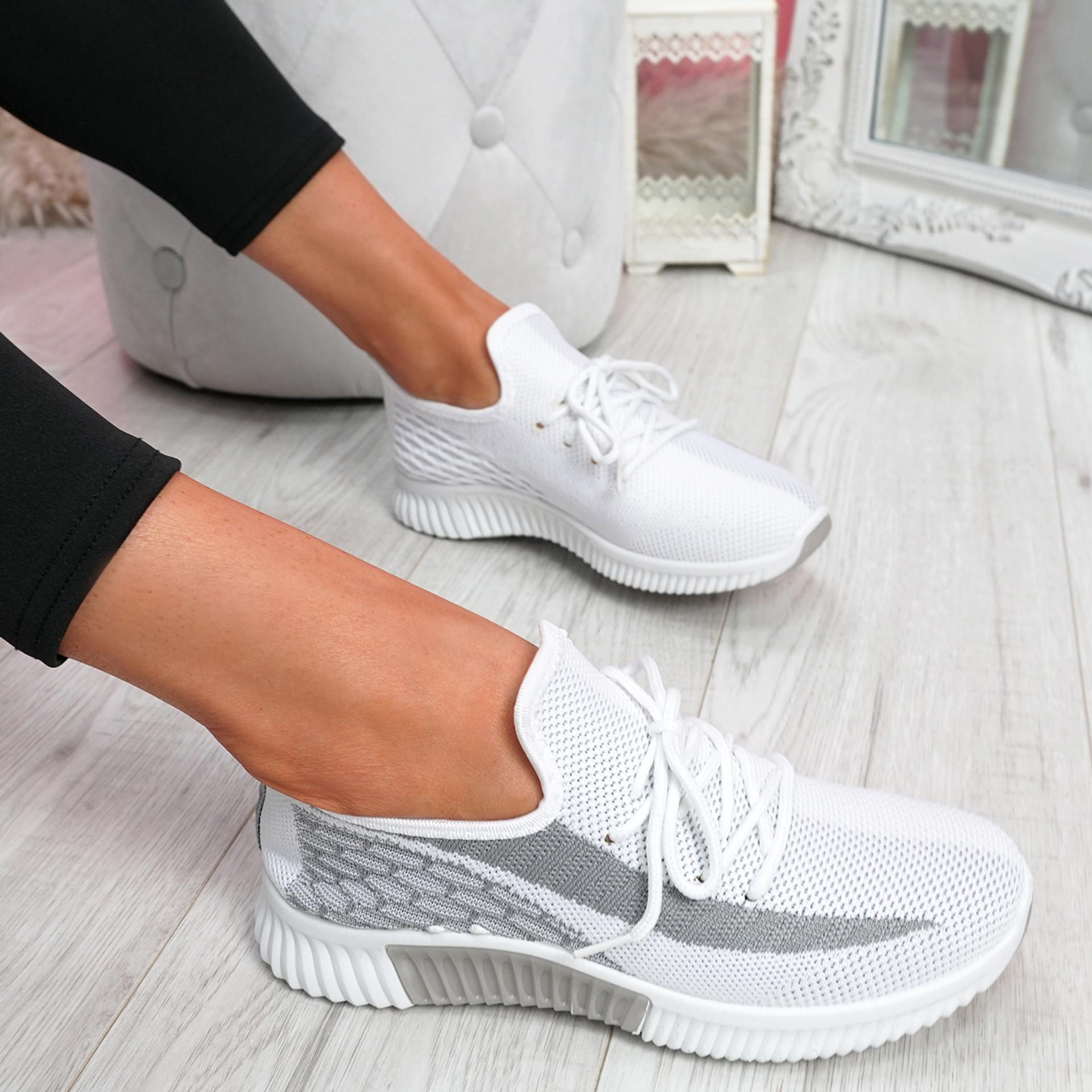 Nova Grey Lace Up Knit Trainers