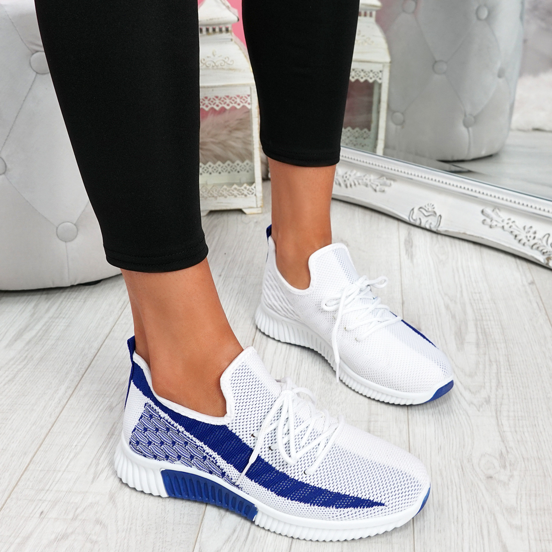 Nova Navy Lace Up Knit Trainers