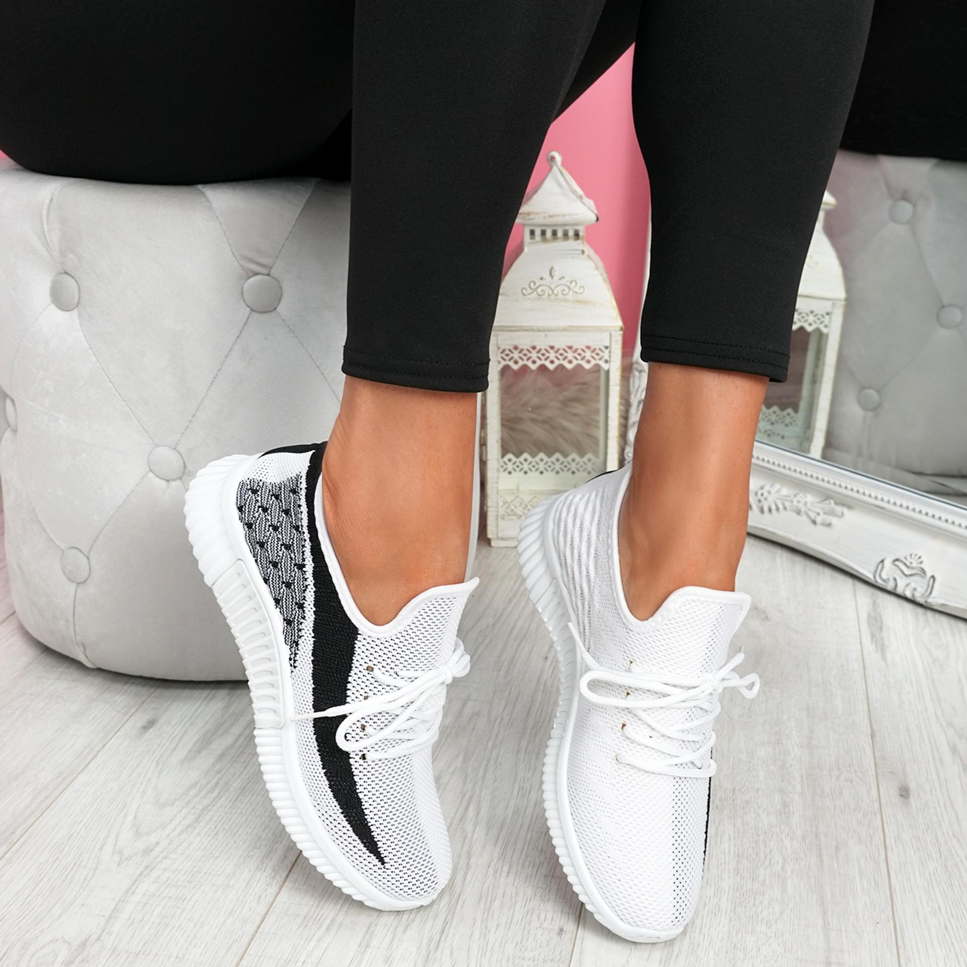 Nova White Lace Up Knit Trainers