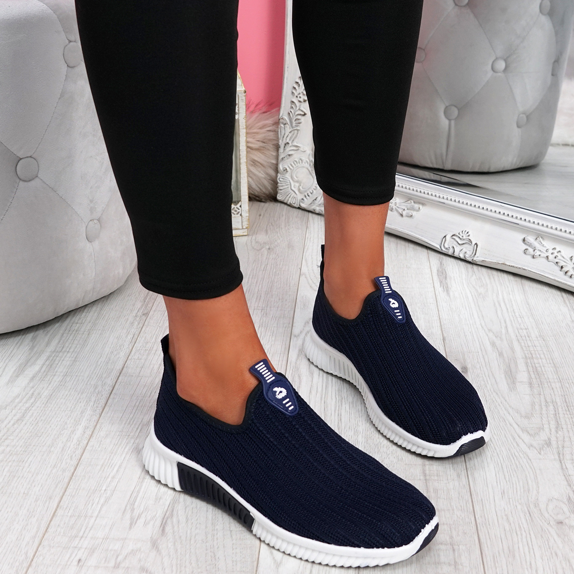 Diffa Navy Knit Trainers