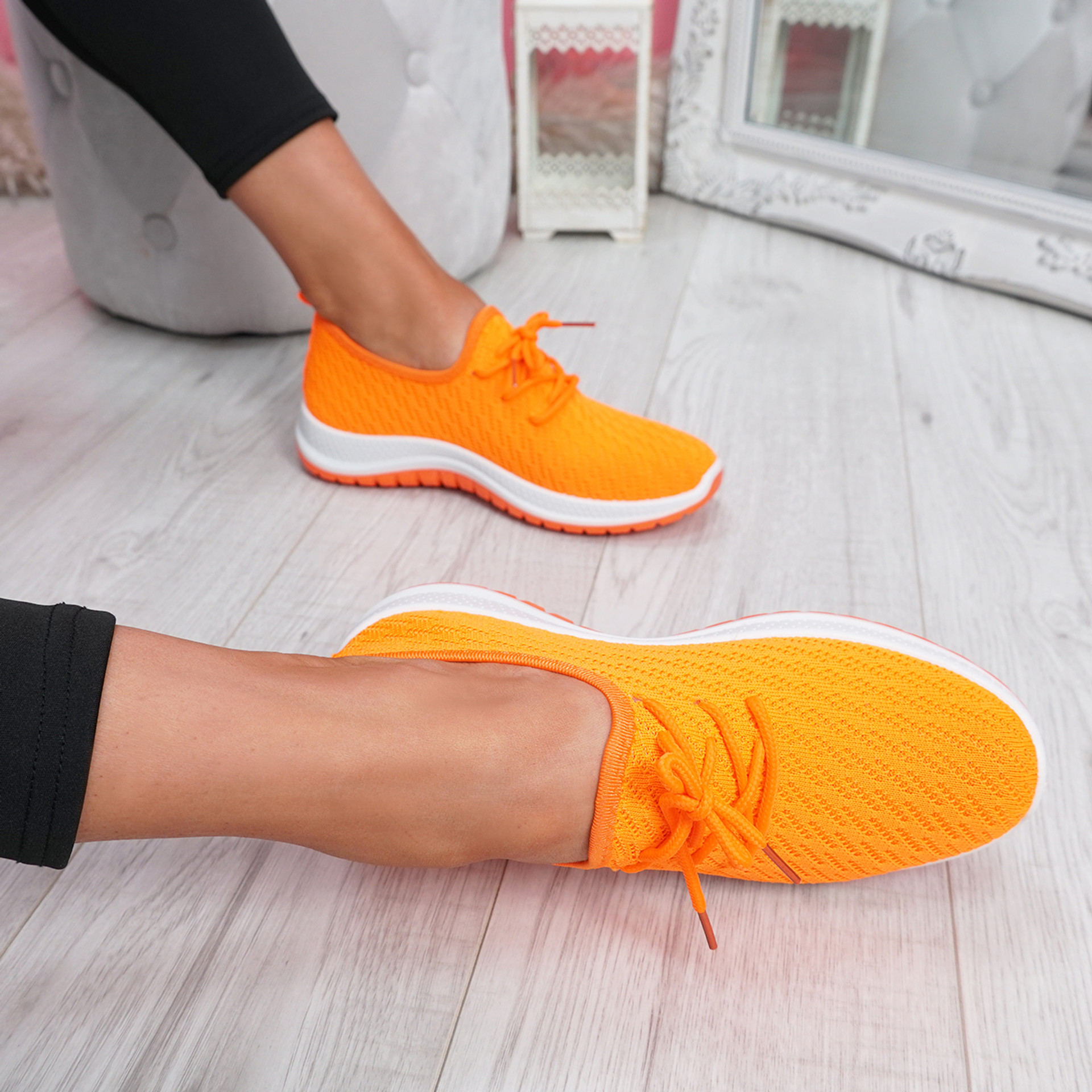 Ligy Orange Knit Lace Up Sneakers