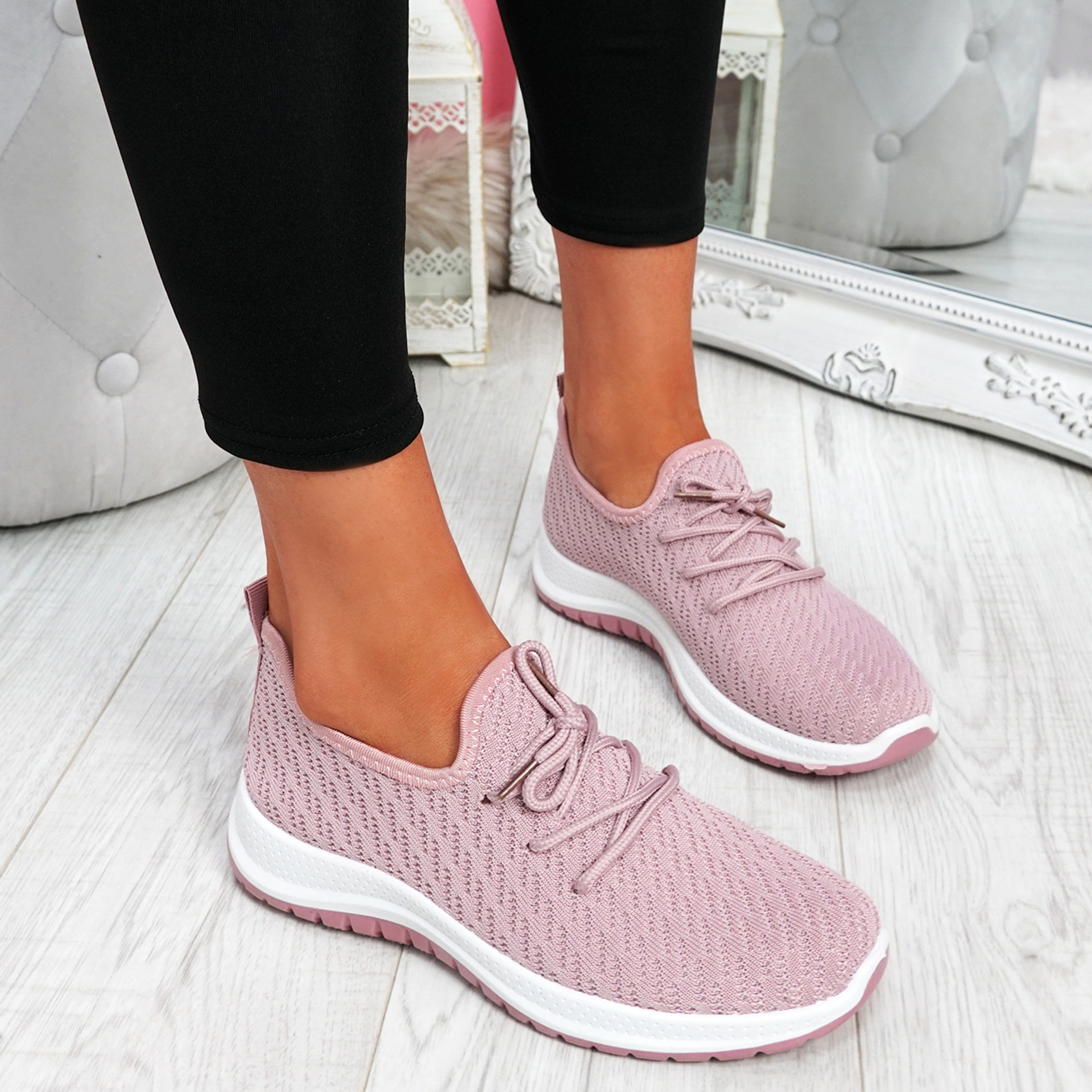 Ligy Pink Knit Lace Up Sneakers