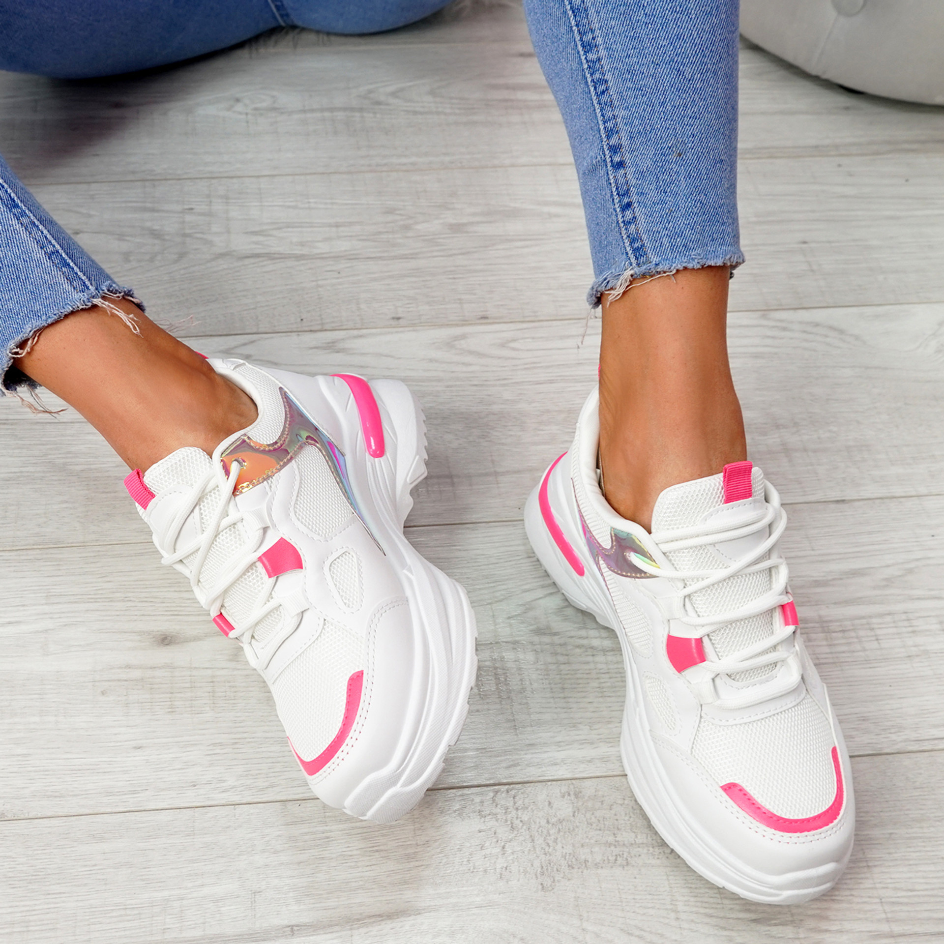 Denza Red Lace Up Chunky Sneakers