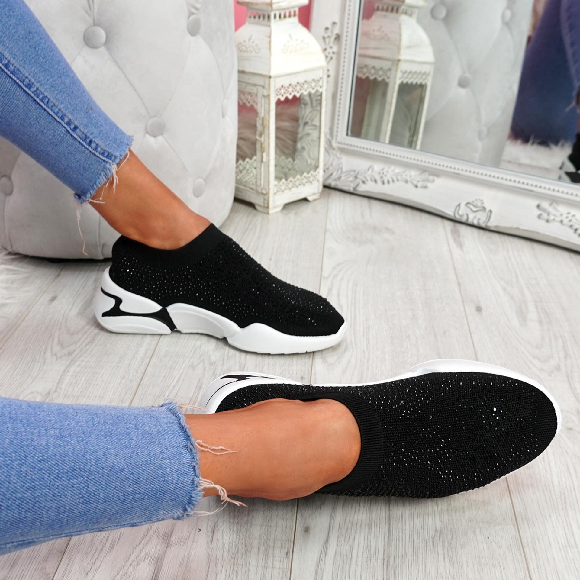 Eky Black Studded Knit Trainers