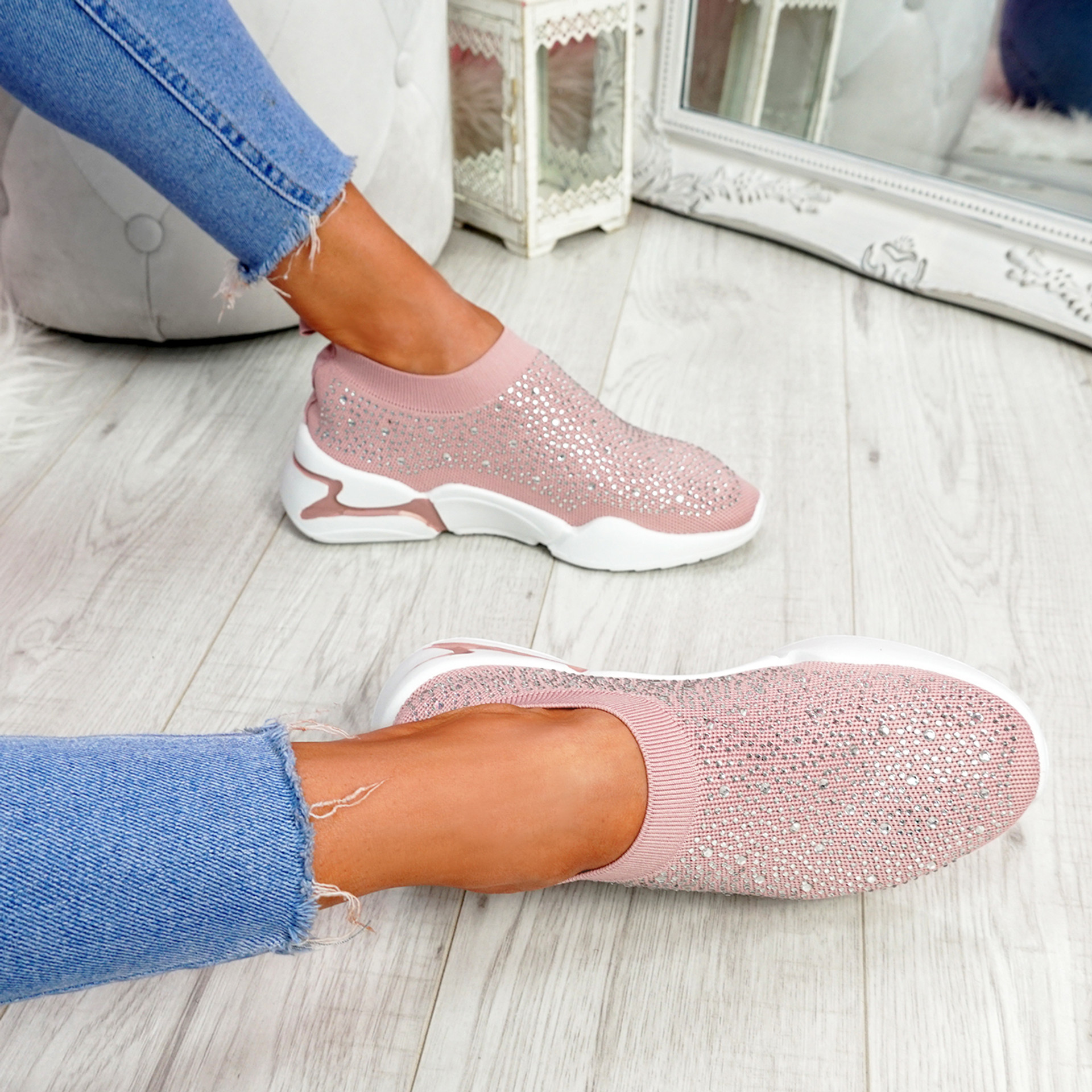 Eky Pink Studded Knit Trainers
