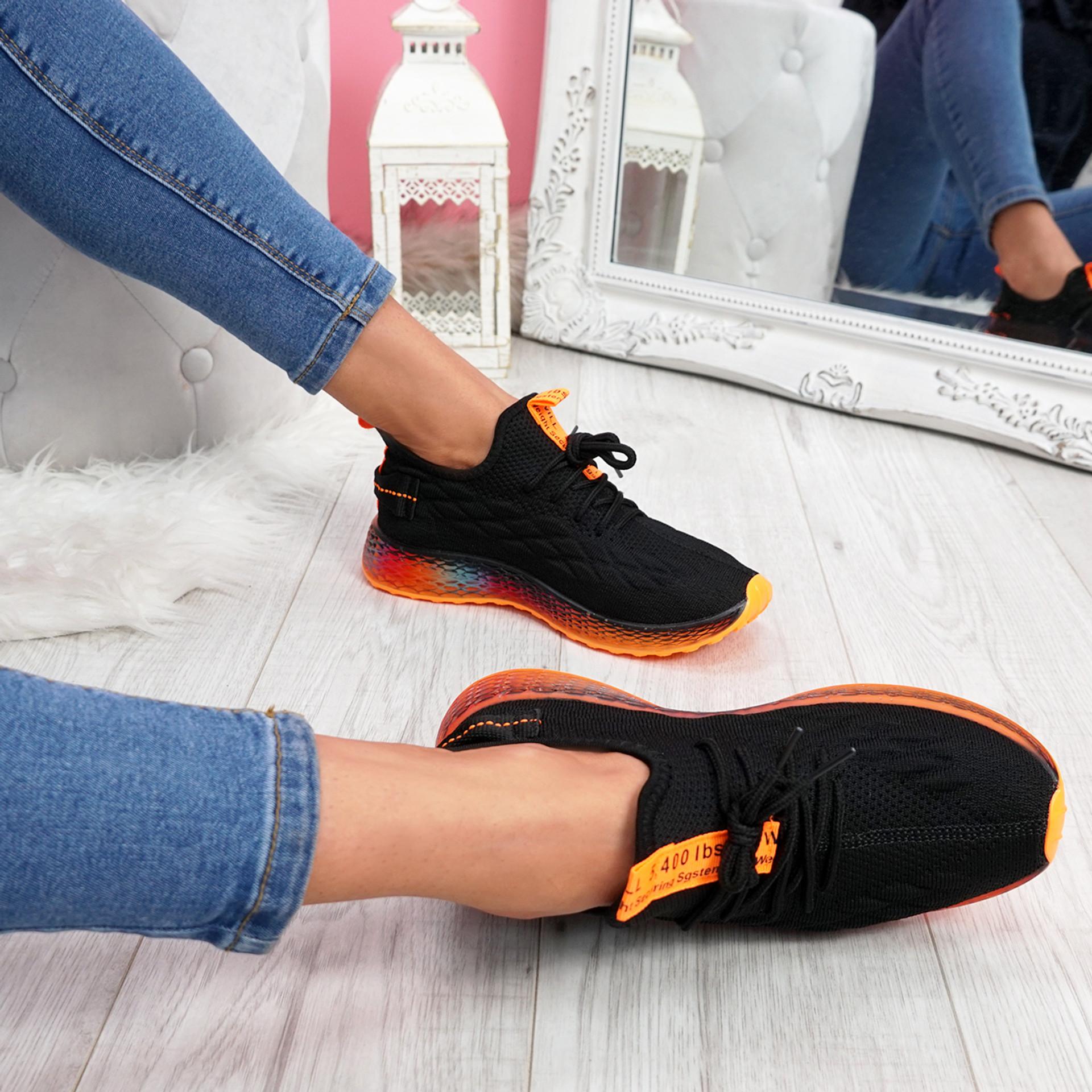 Jima Black Lace Up Sport Sneakers