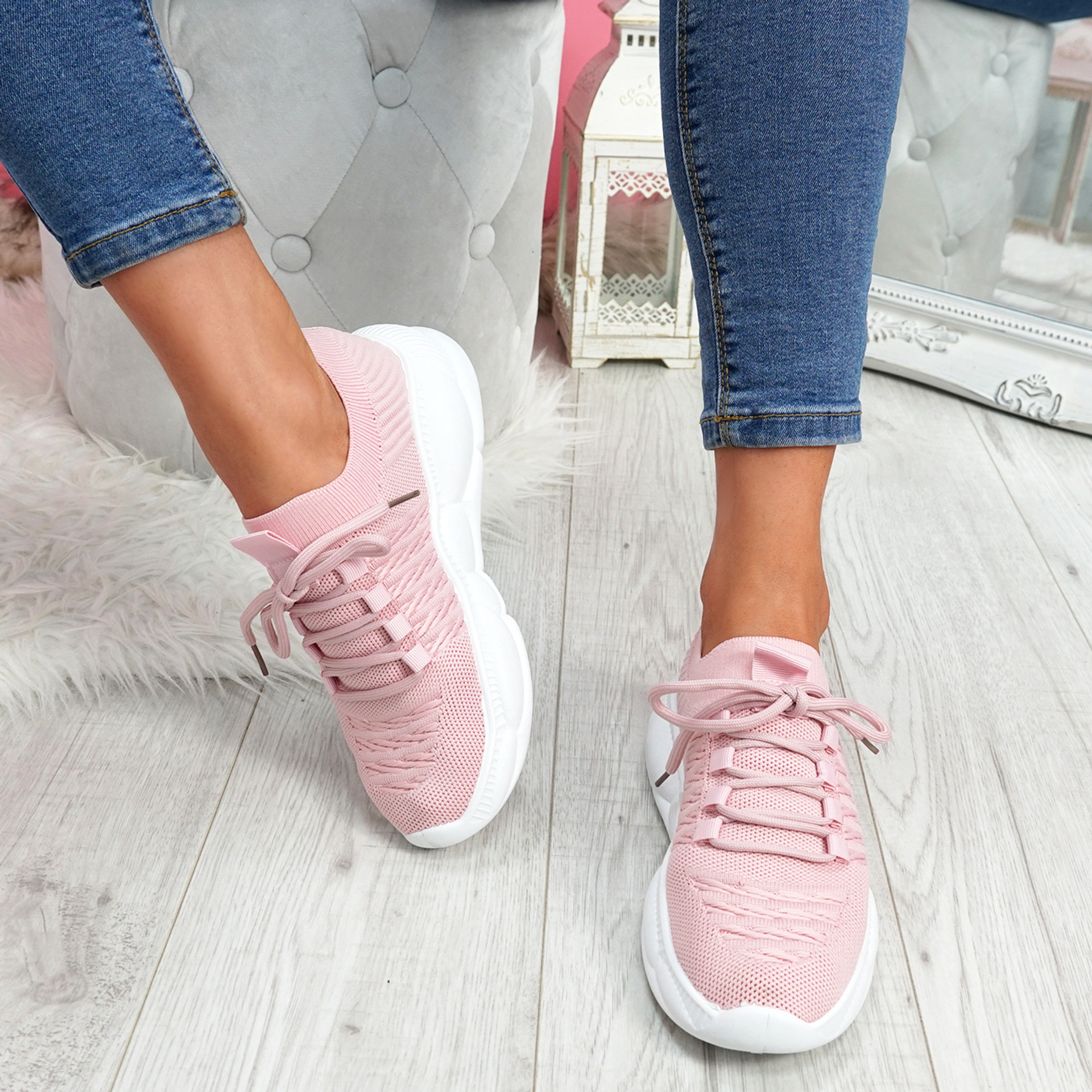 Mizza Pink Chunky Trainers