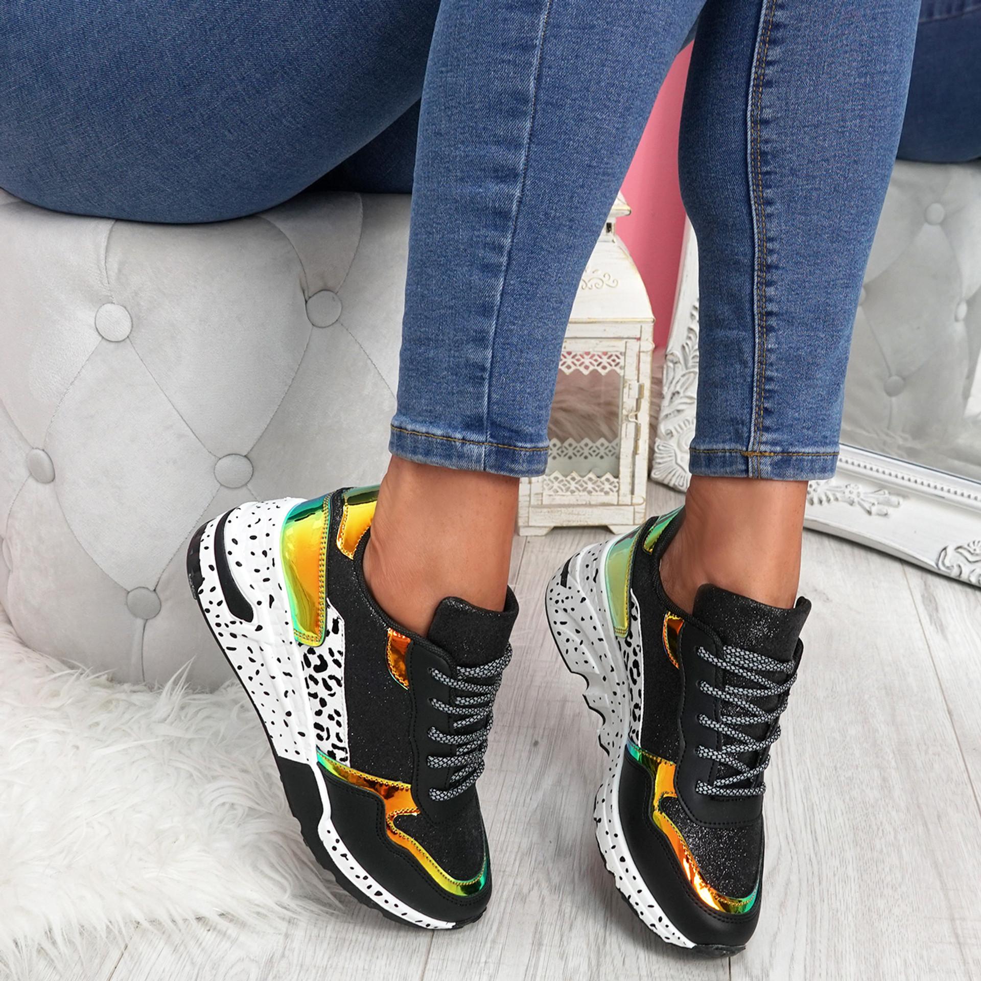 Zinna Black Glitter Chunky Sneakers