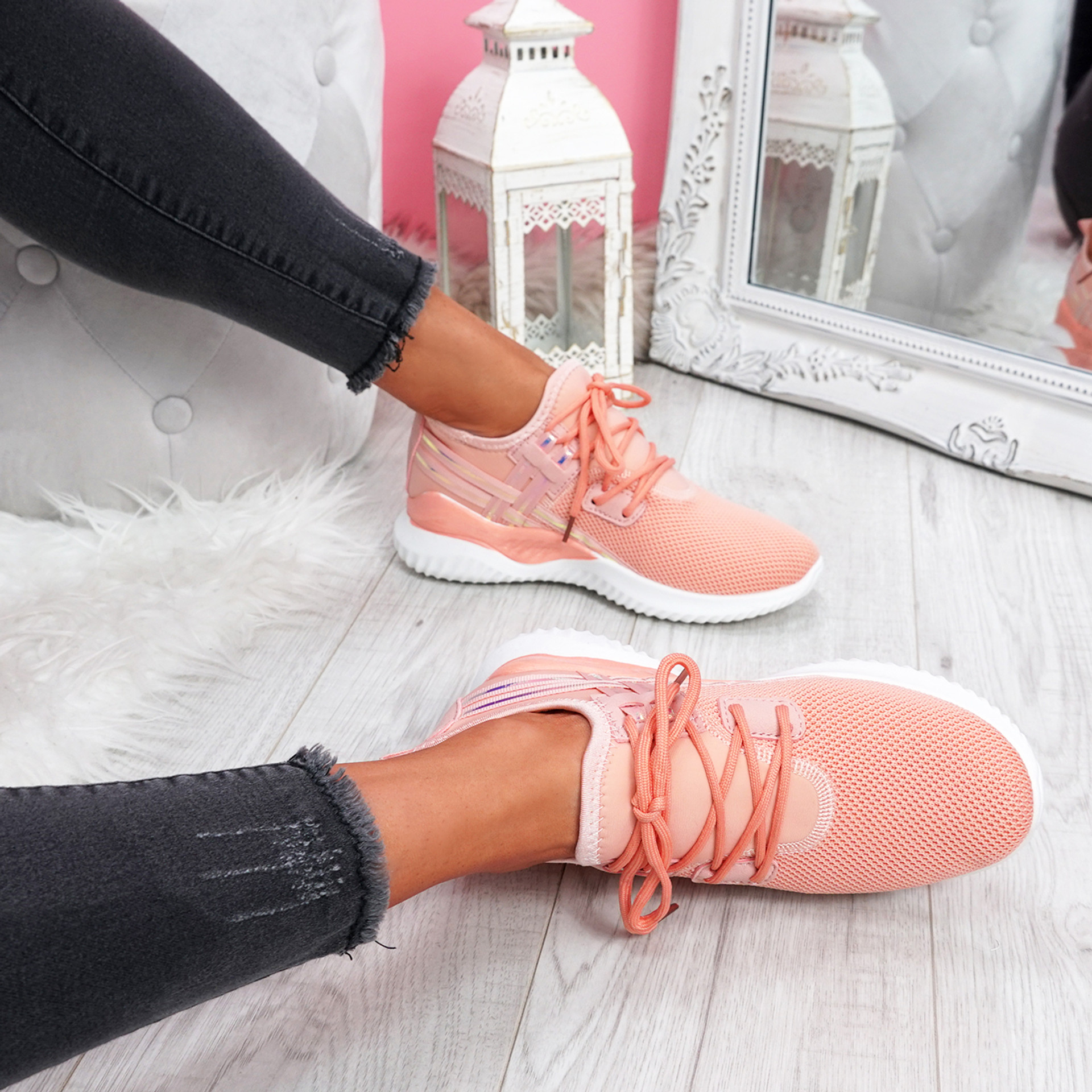 Deppa Pink Lace Up Sport Trainers