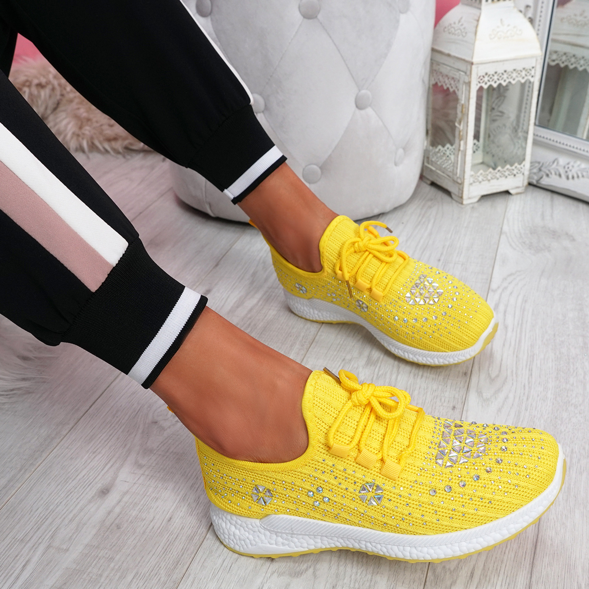 Pehy Yellow Studded Knit Sneakers