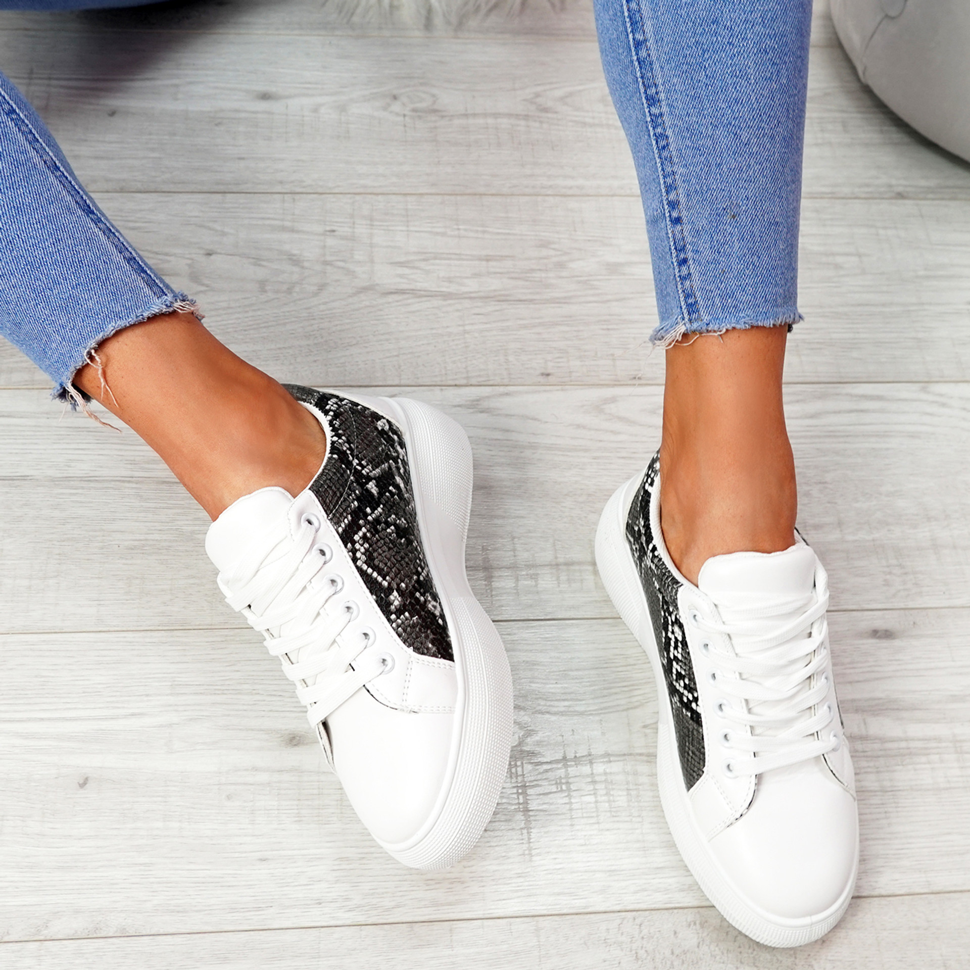 Sirra Snake Lace Up Trainers