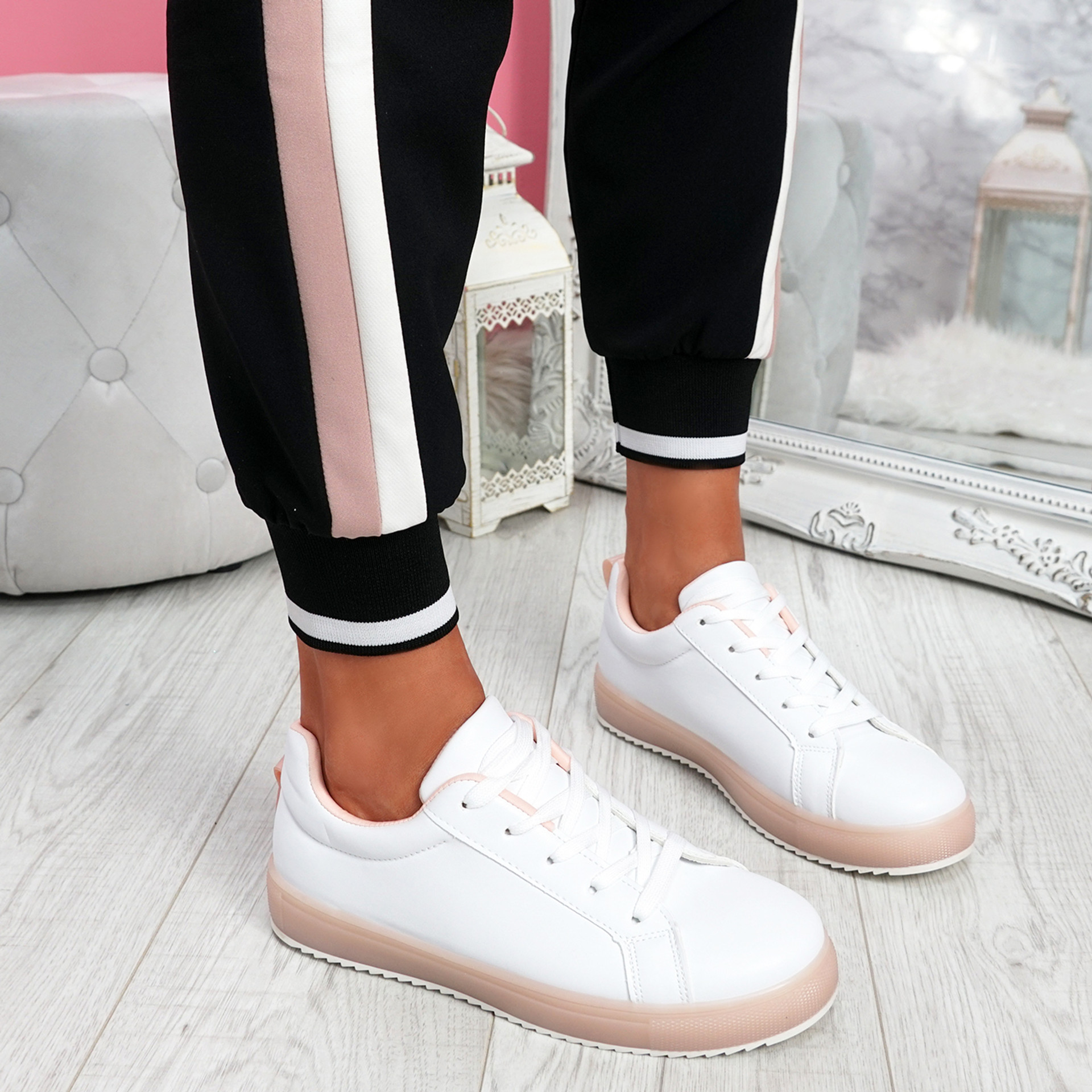 Crozy Pink Lace Up Platform Trainers