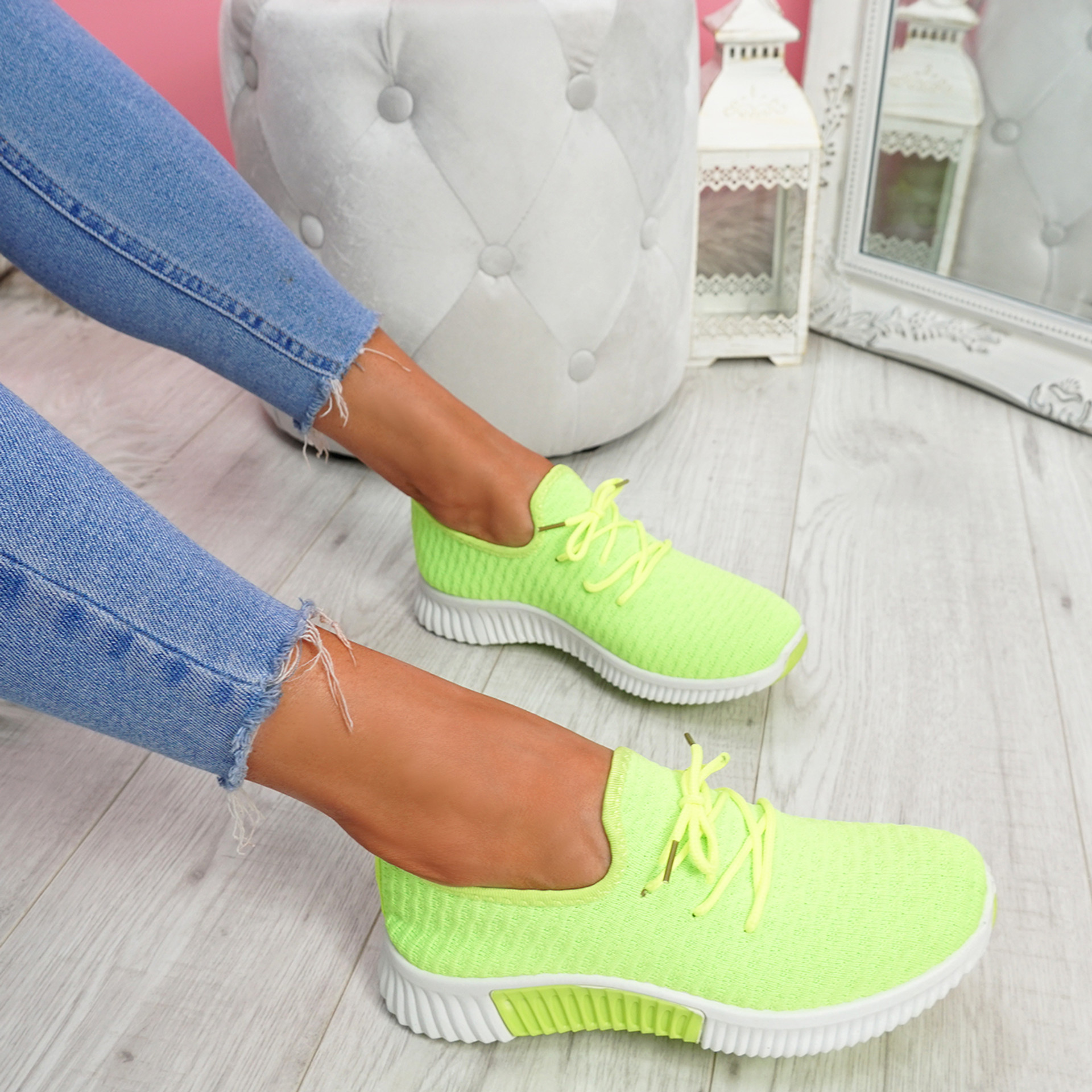 Senny Green Lace Up Trainers