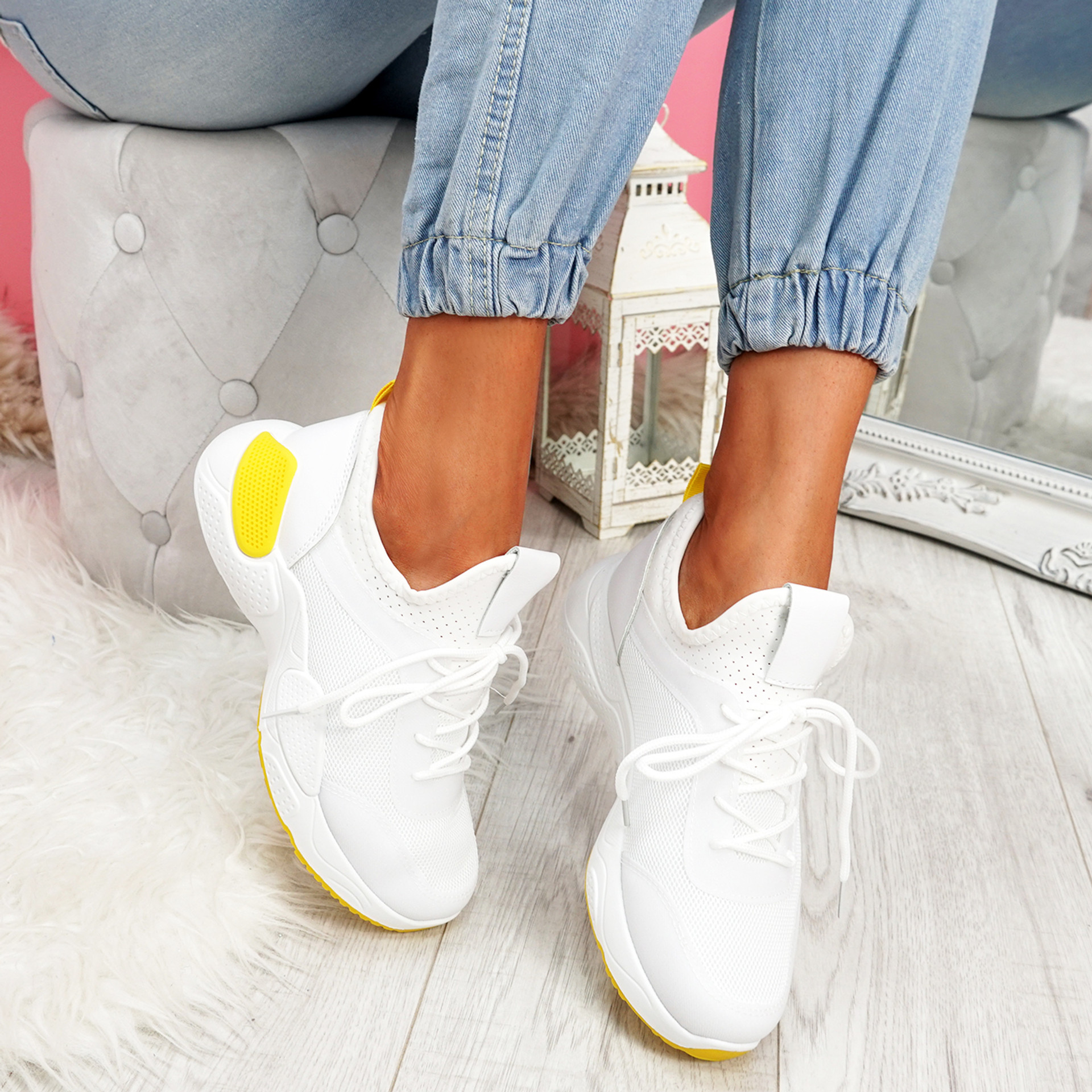 Lomy White Yellow Chunky Trainers