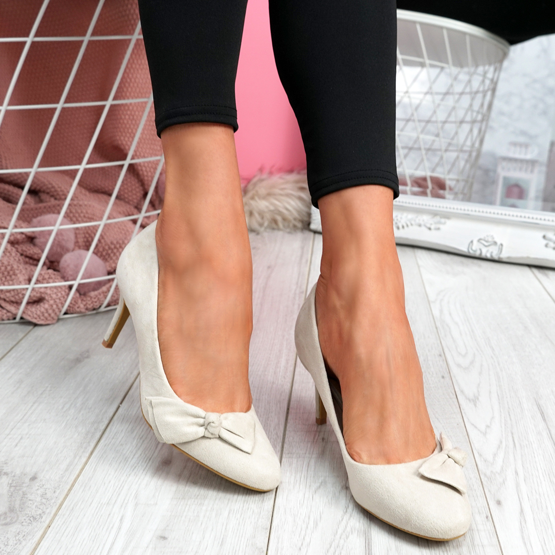 Bokka Beige Stilleto Bow Pumps
