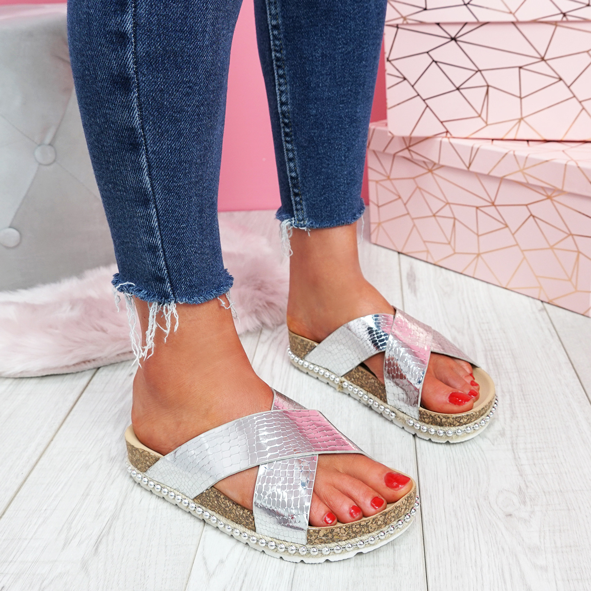Sya Silver Slip On Sandals