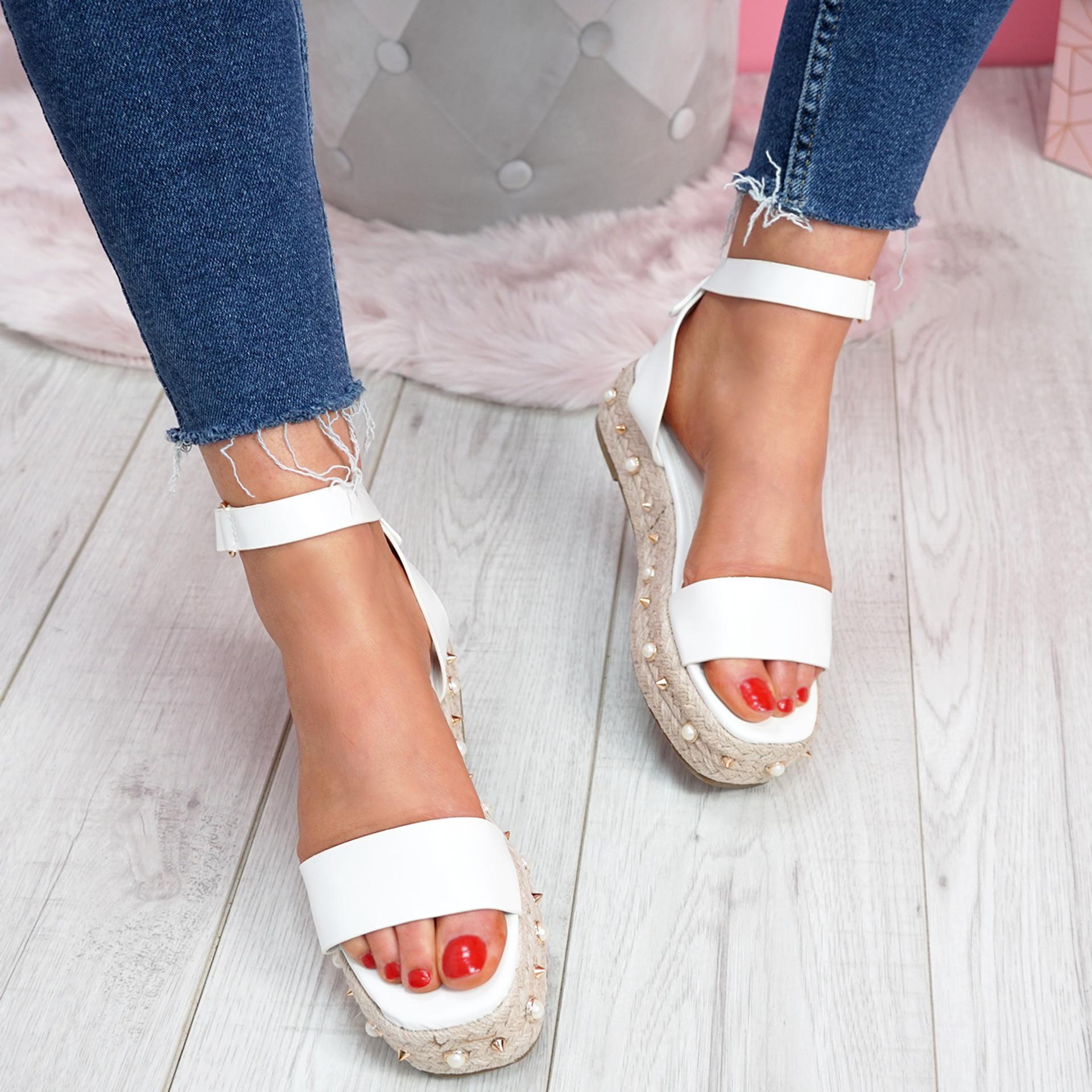 Inny White Pu Studded Platform Sandals